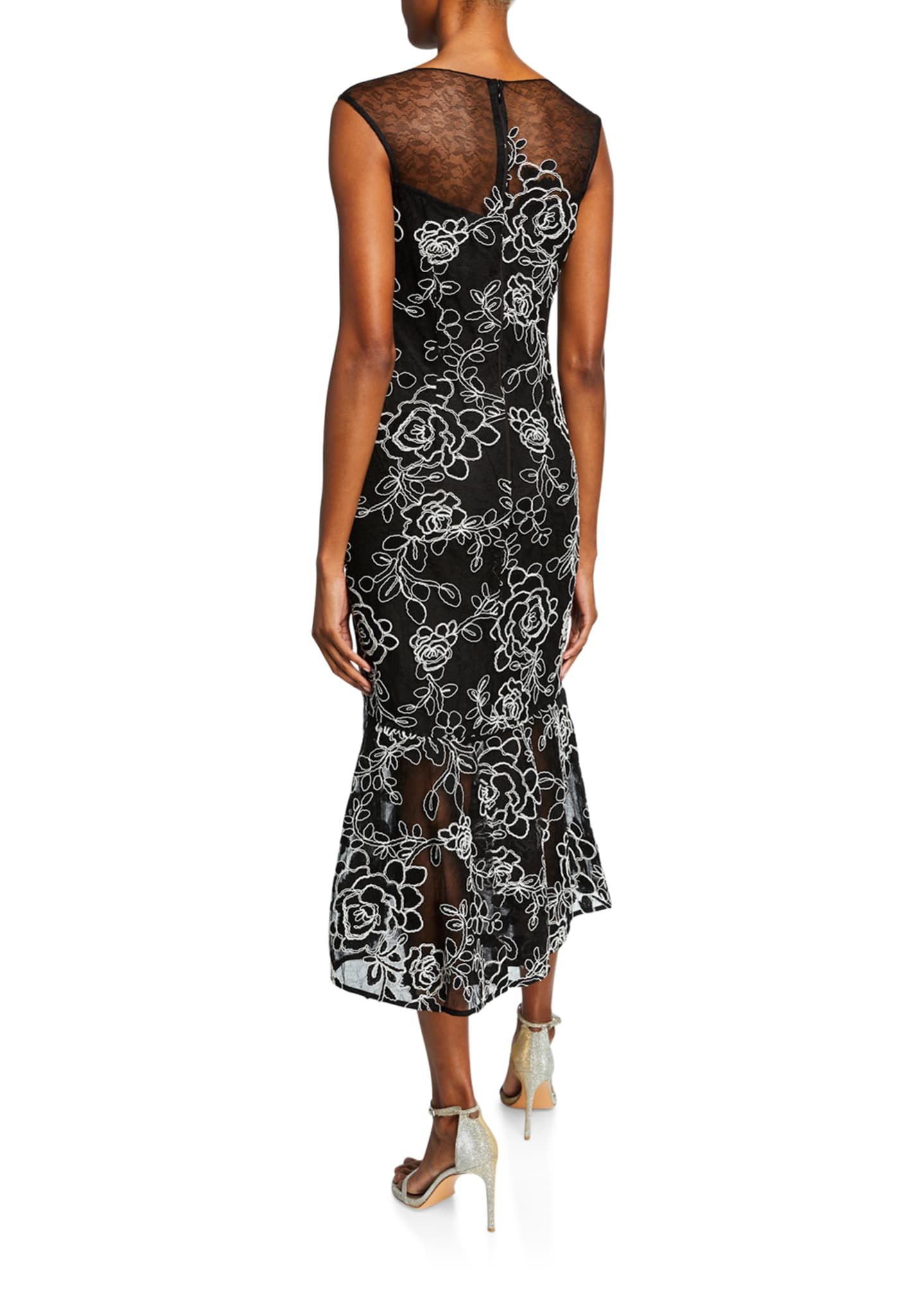 Image 2 of 2: Sleeveless Floral-Embroidered Lace Sheath Dress w/ Flounce Hem