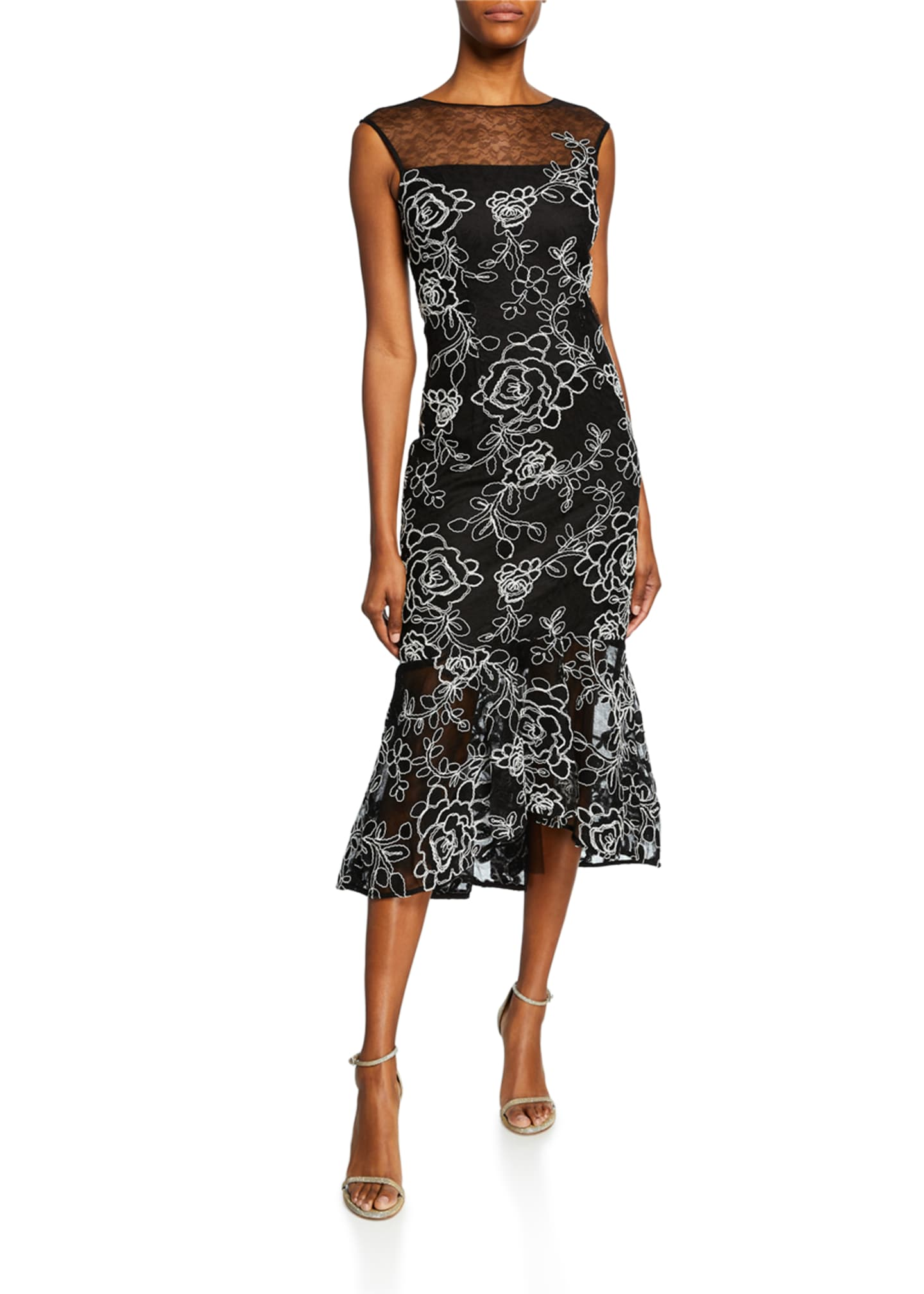 Image 1 of 2: Sleeveless Floral-Embroidered Lace Sheath Dress w/ Flounce Hem
