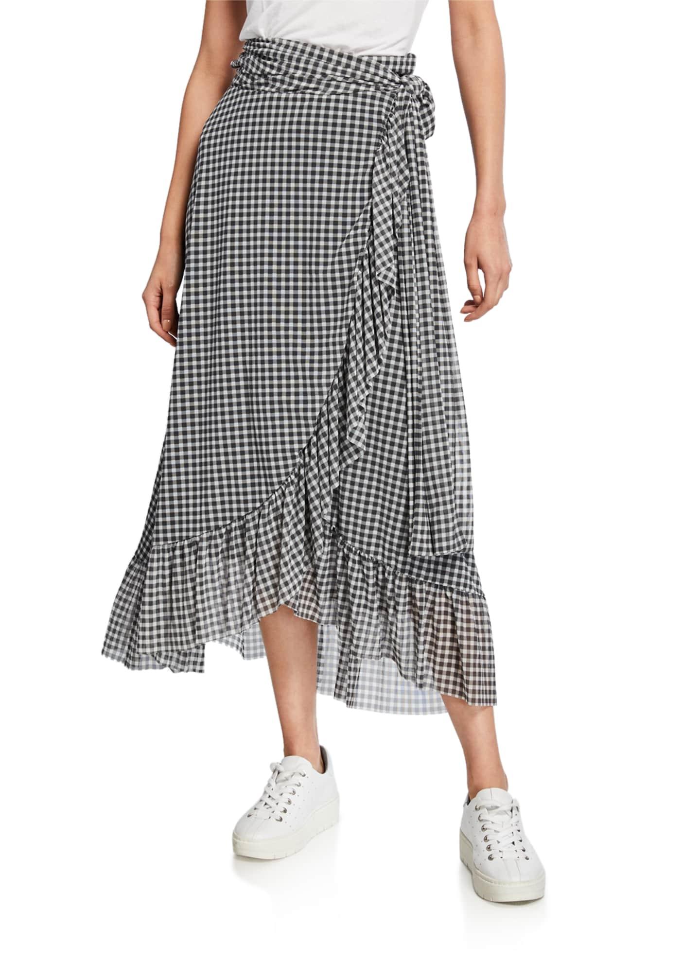 Ganni Gingham Crepe Maxi Skirt