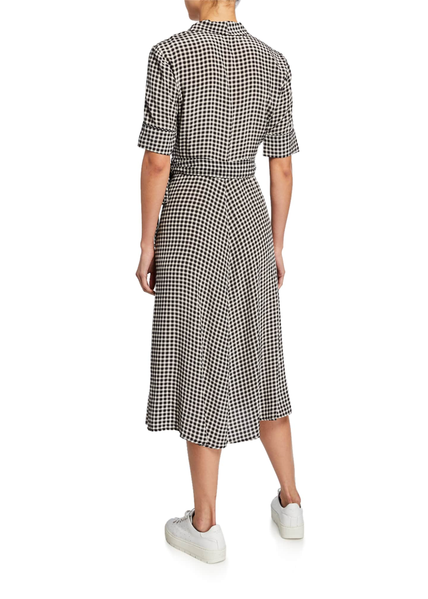 Image 2 of 2: Gingham-Printed Elbow-Sleeve Crepe Wrap Dress