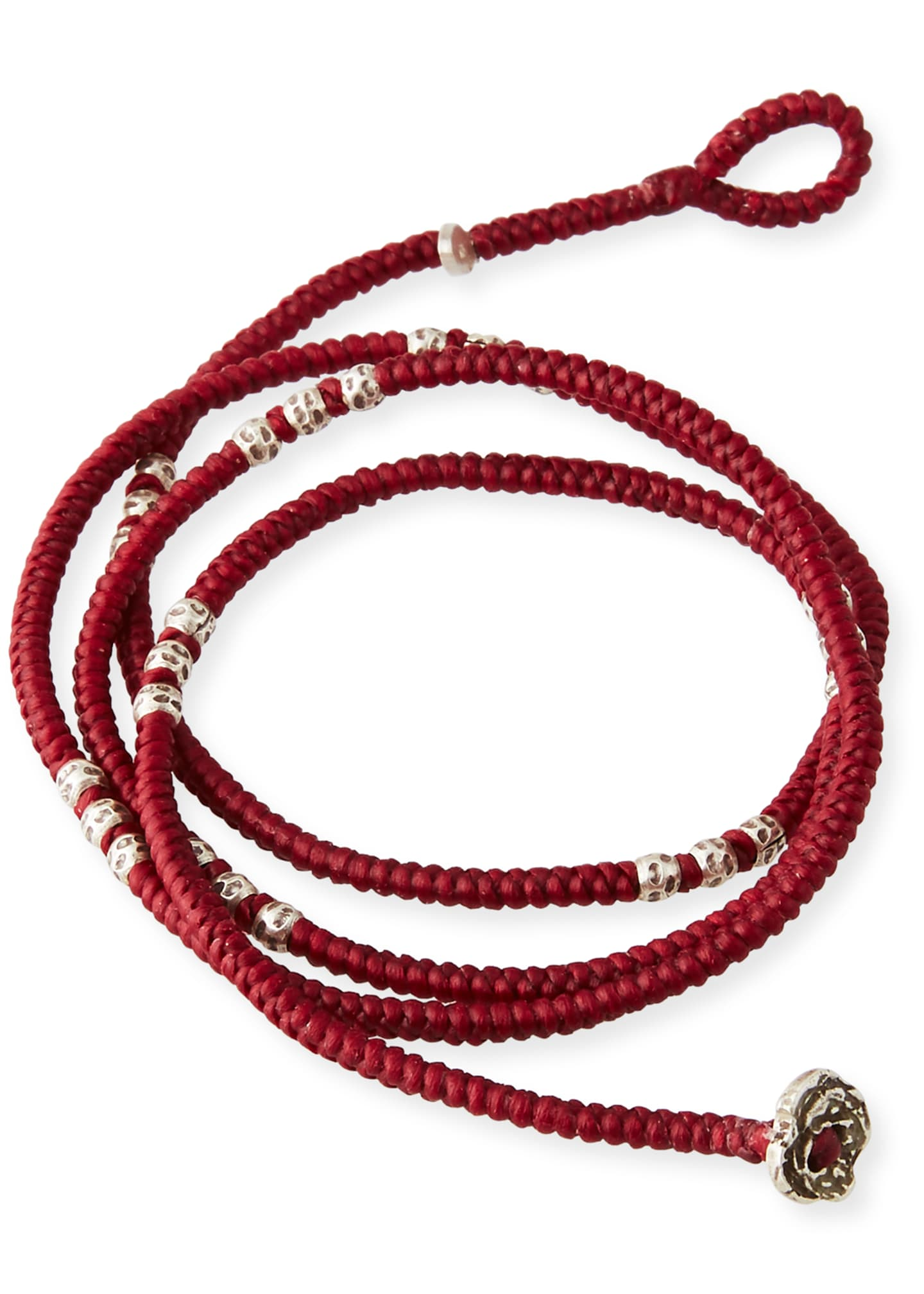 Image 2 of 2: Men's Knotted Wrap Bracelet with Silver Beads, Red
