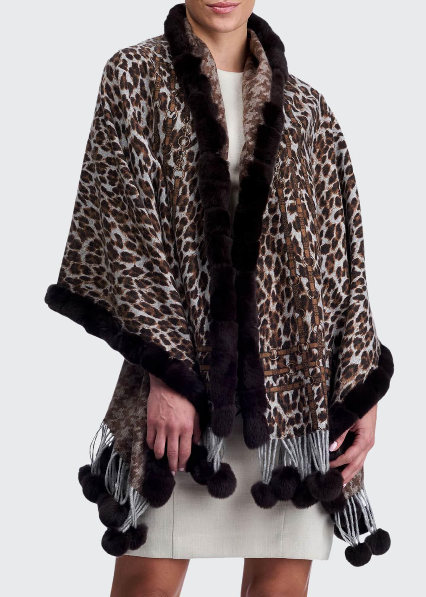 Gorski Double Face Cashmere Leopard-Print Stole w/ Rabbit