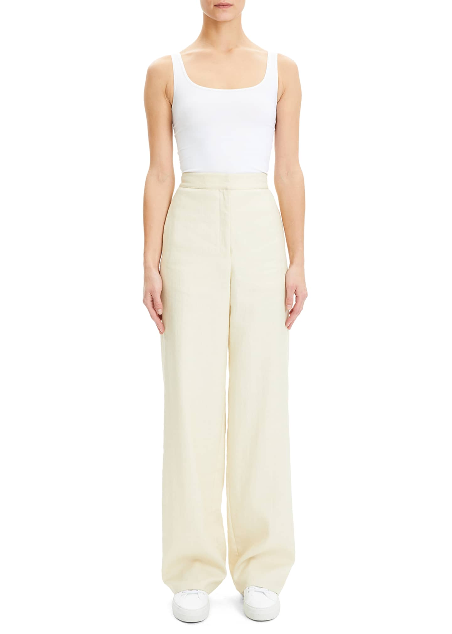 Image 2 of 4: Luxe Linen Clean High-Rise Wide-Leg Trousers