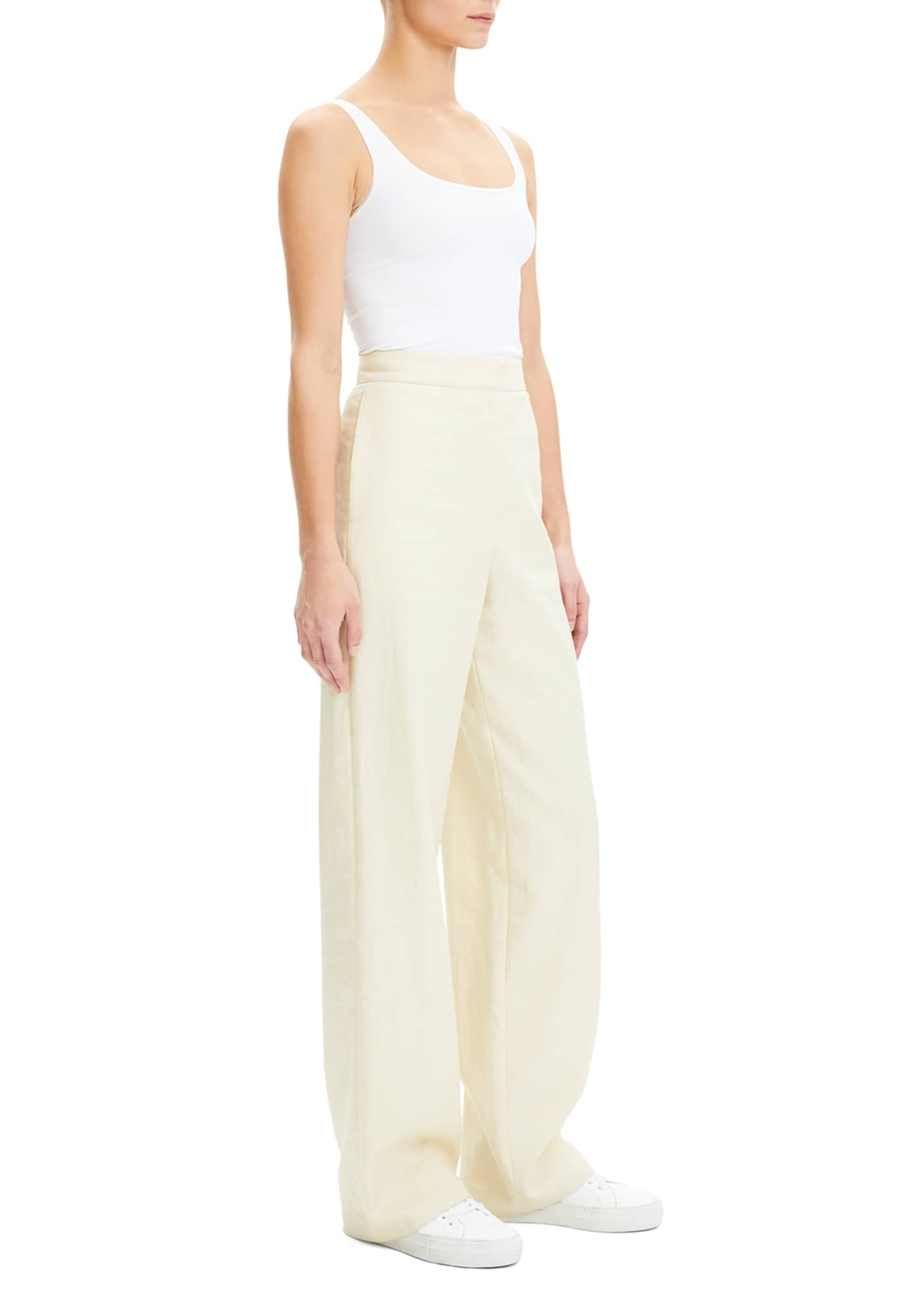 Image 3 of 4: Luxe Linen Clean High-Rise Wide-Leg Trousers