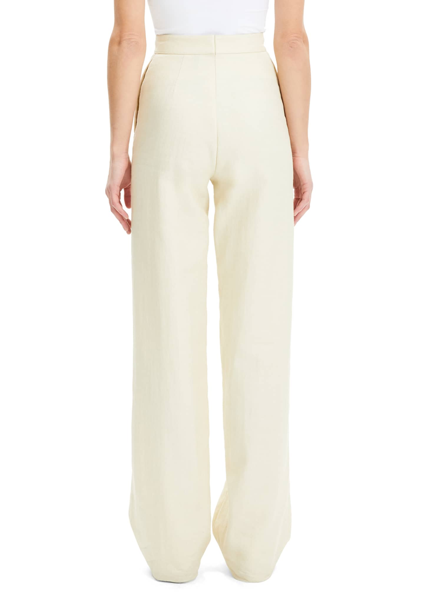 Image 4 of 4: Luxe Linen Clean High-Rise Wide-Leg Trousers