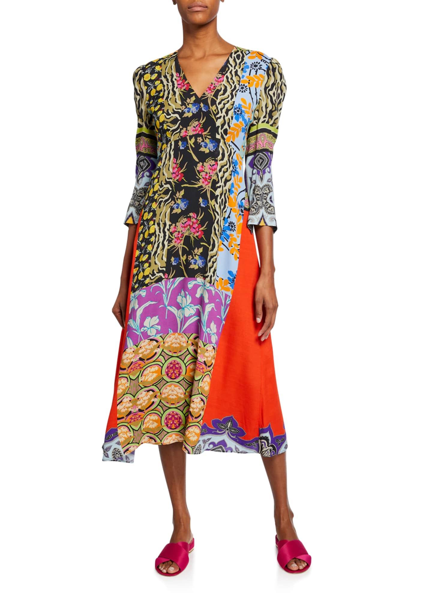 Etro Animal Print & Floral Collage Patchwork Dress
