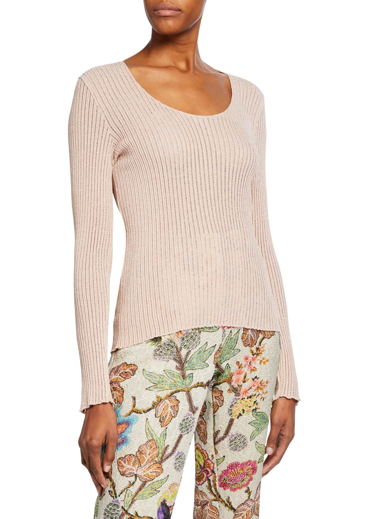 Image 2 of 3: Scoop-Neck Metallic Ribbed-Knit Sweater