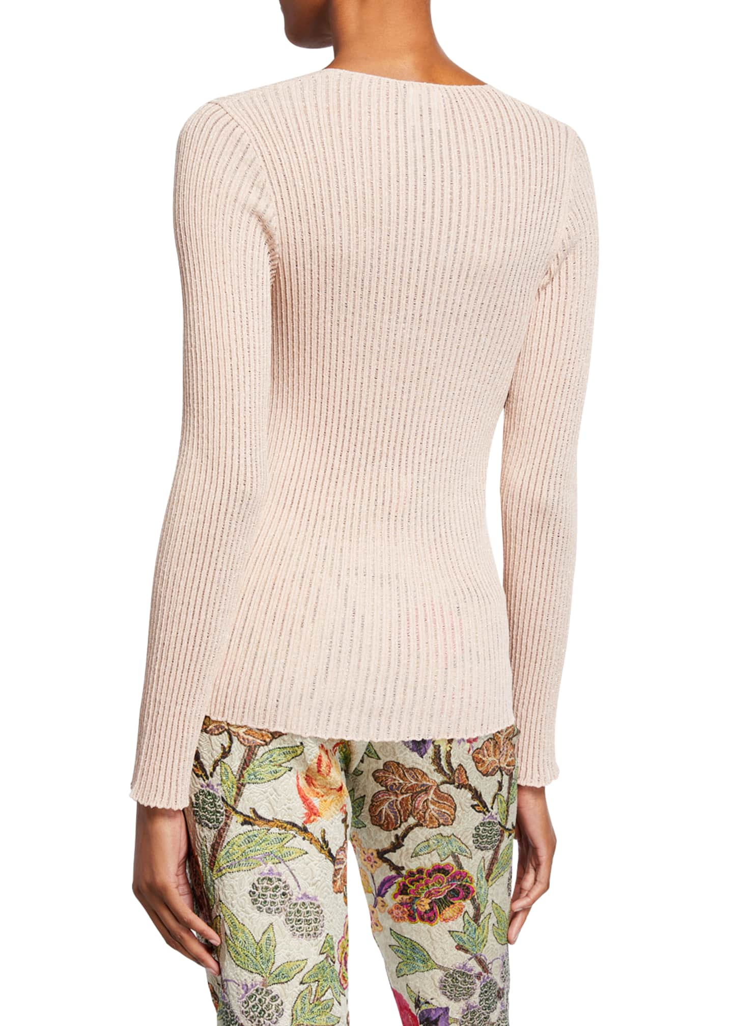 Image 3 of 3: Scoop-Neck Metallic Ribbed-Knit Sweater