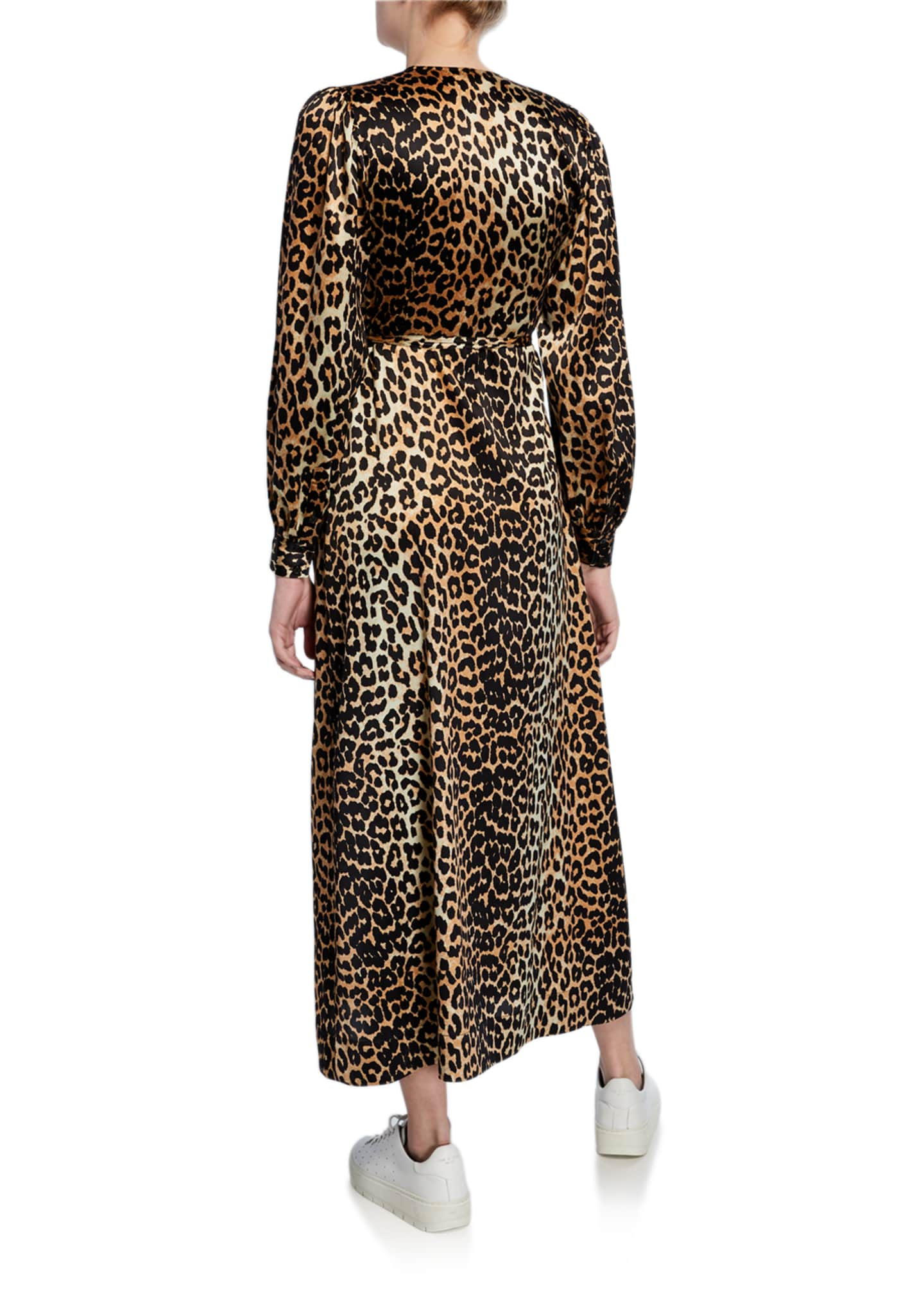 Image 2 of 2: Leopard-Print Surplice Long-Sleeve Stretch-Silk Satin Dress