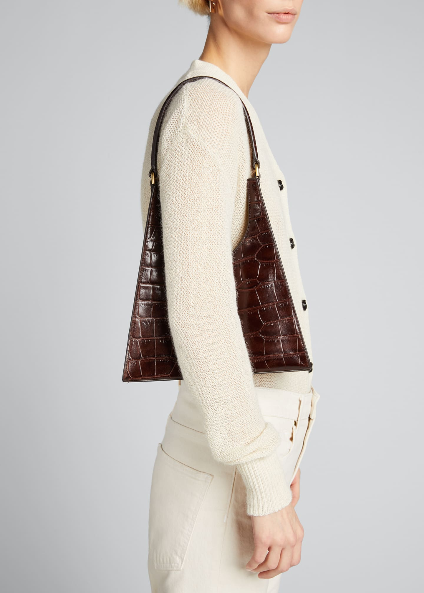 Image 2 of 5: Rey Croc-Embossed Hobo Bag