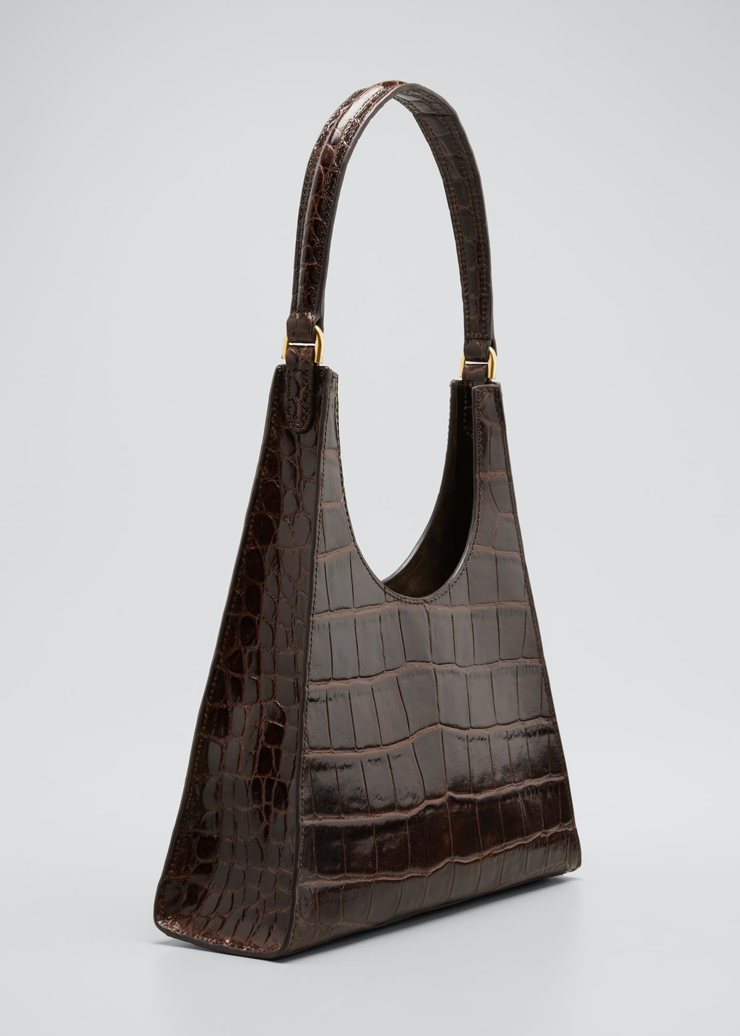 Image 3 of 5: Rey Croc-Embossed Hobo Bag