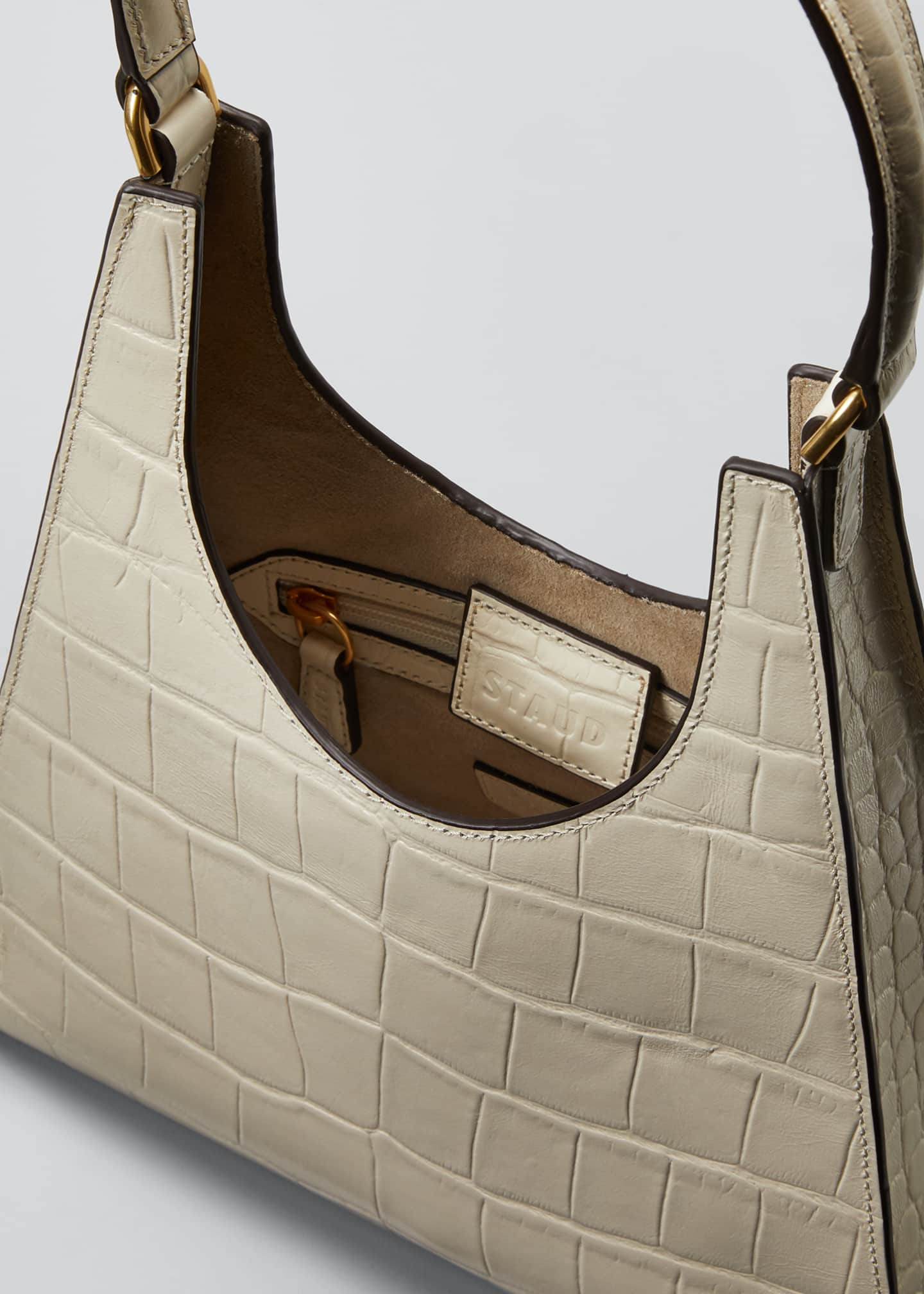 Image 4 of 5: Rey Croc-Embossed Hobo Bag