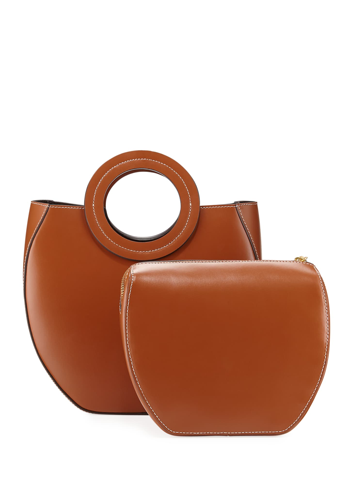 Image 3 of 4: Frida Ring-Handle PVC/Leather Tote Bag