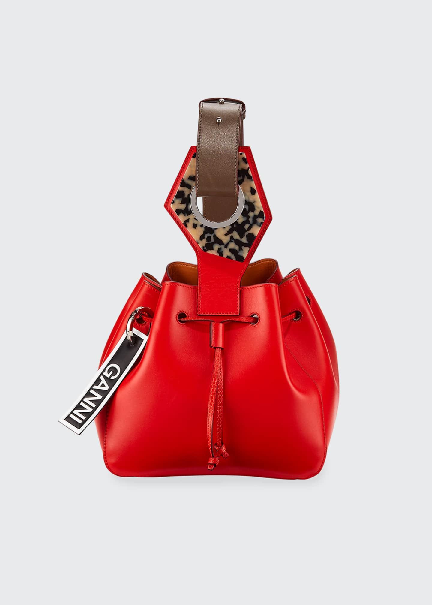 Ganni Leather Mini Cinch Bucket Bag