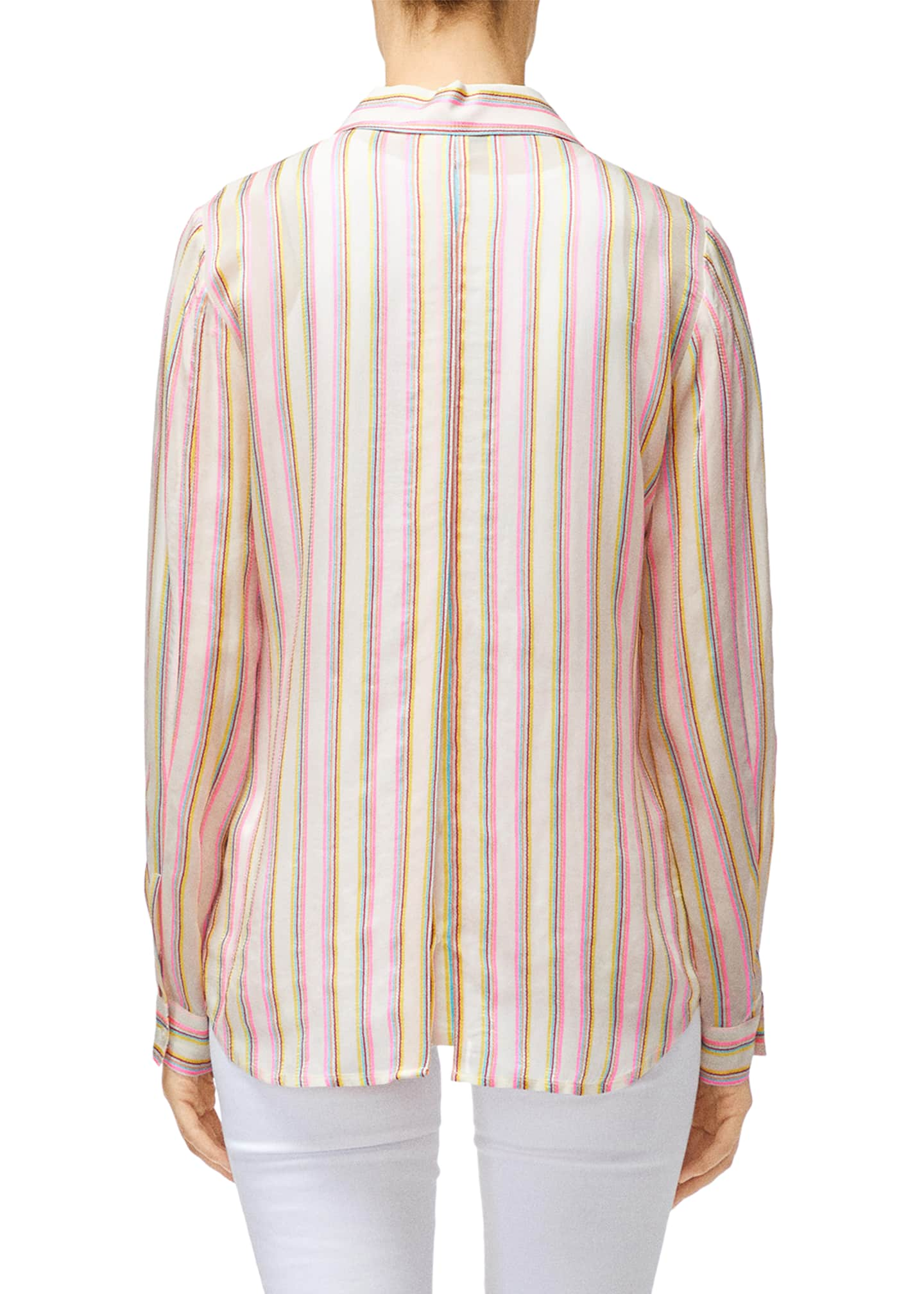 Image 2 of 2: Elena Striped Long-Sleeve Button-Back Shirt