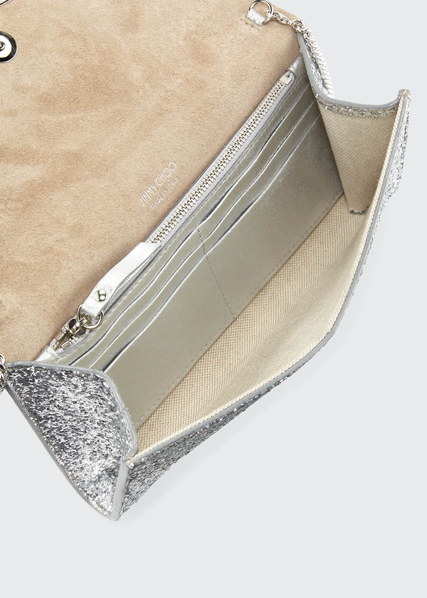 Image 3 of 3: Emmie Glittered Leather Clutch Bag
