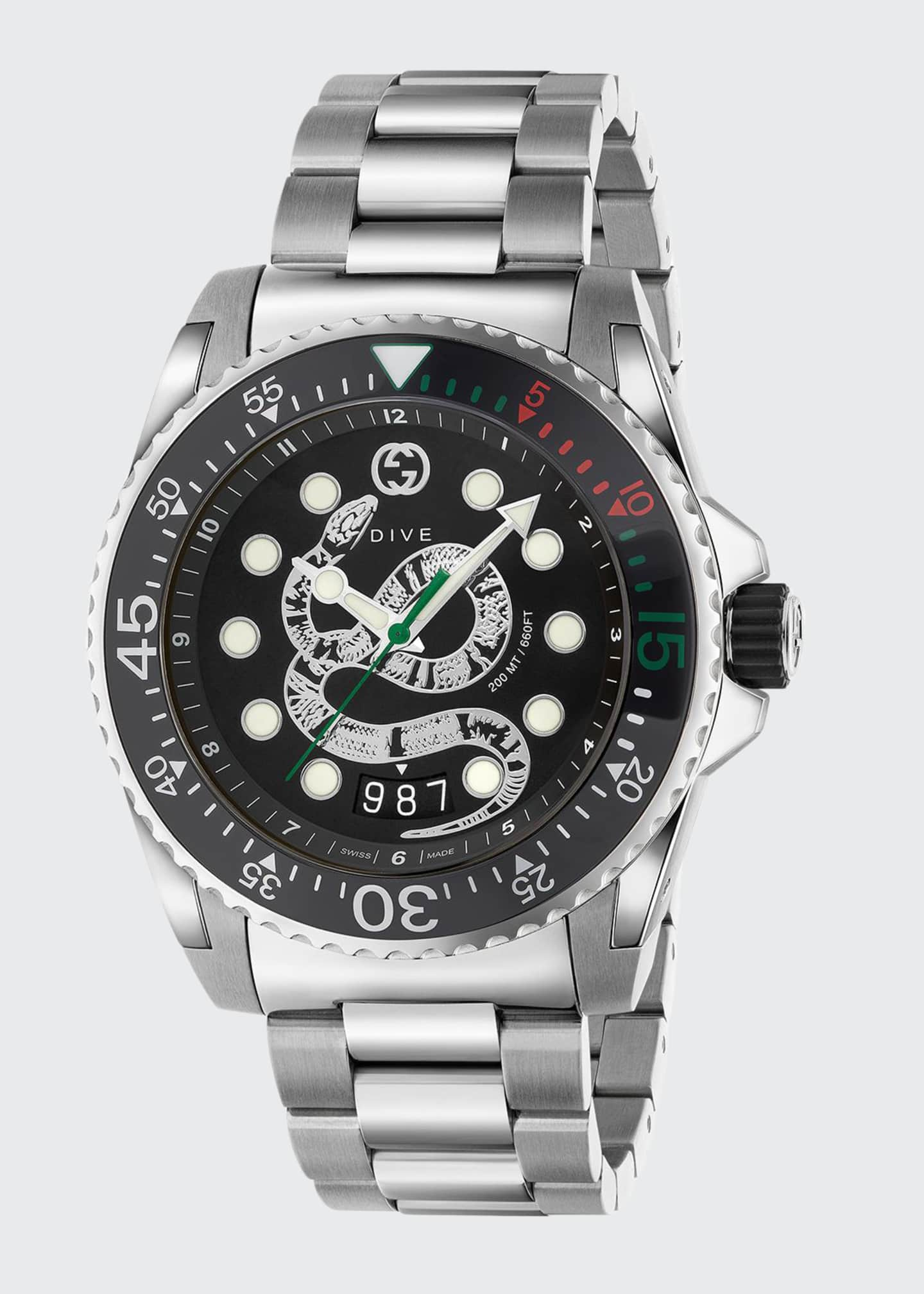Gucci Men's Dive King Snake Stainless Steel Watch