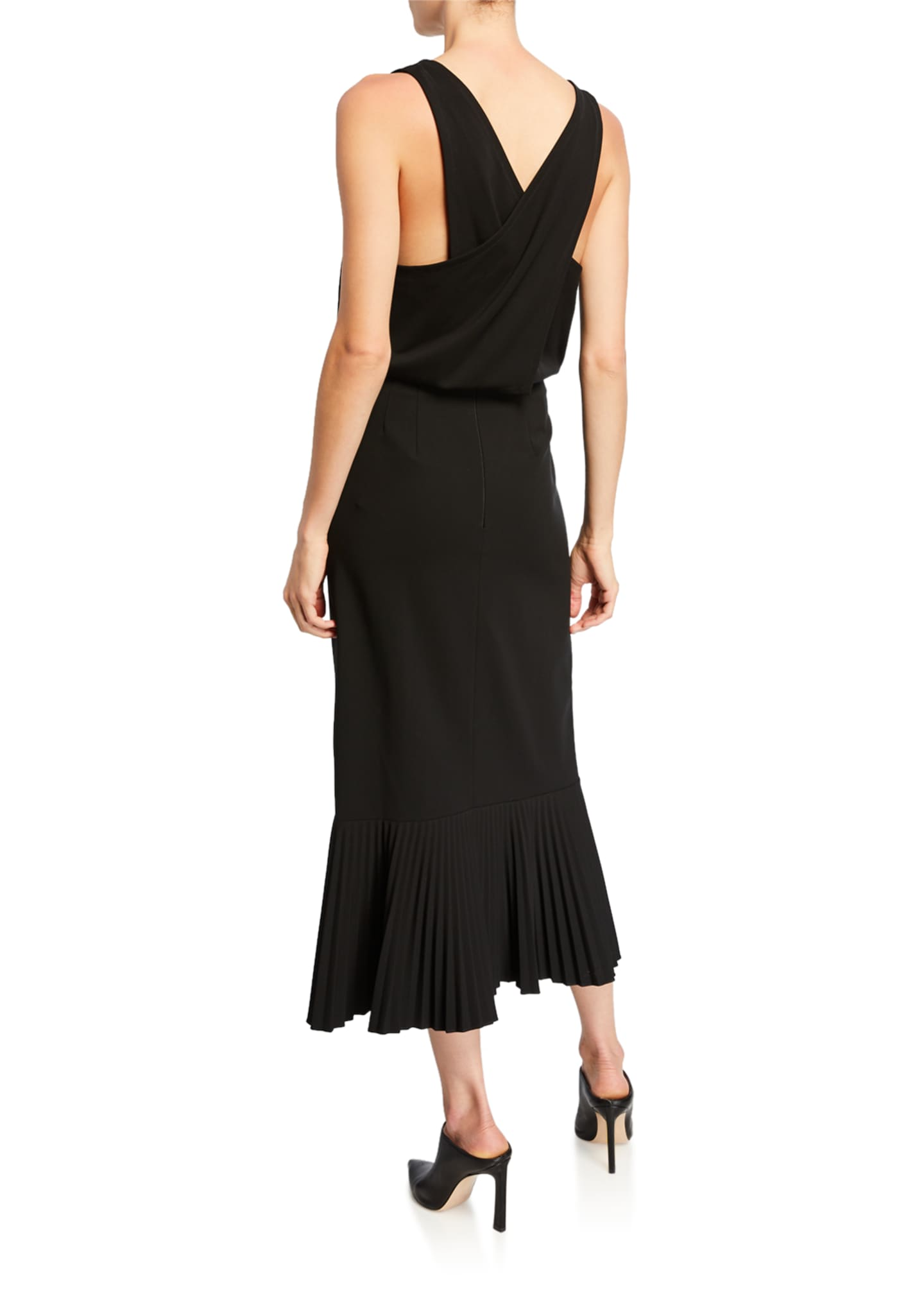 Image 2 of 2: Sleeveless Pleated Flounce-Hem Dress