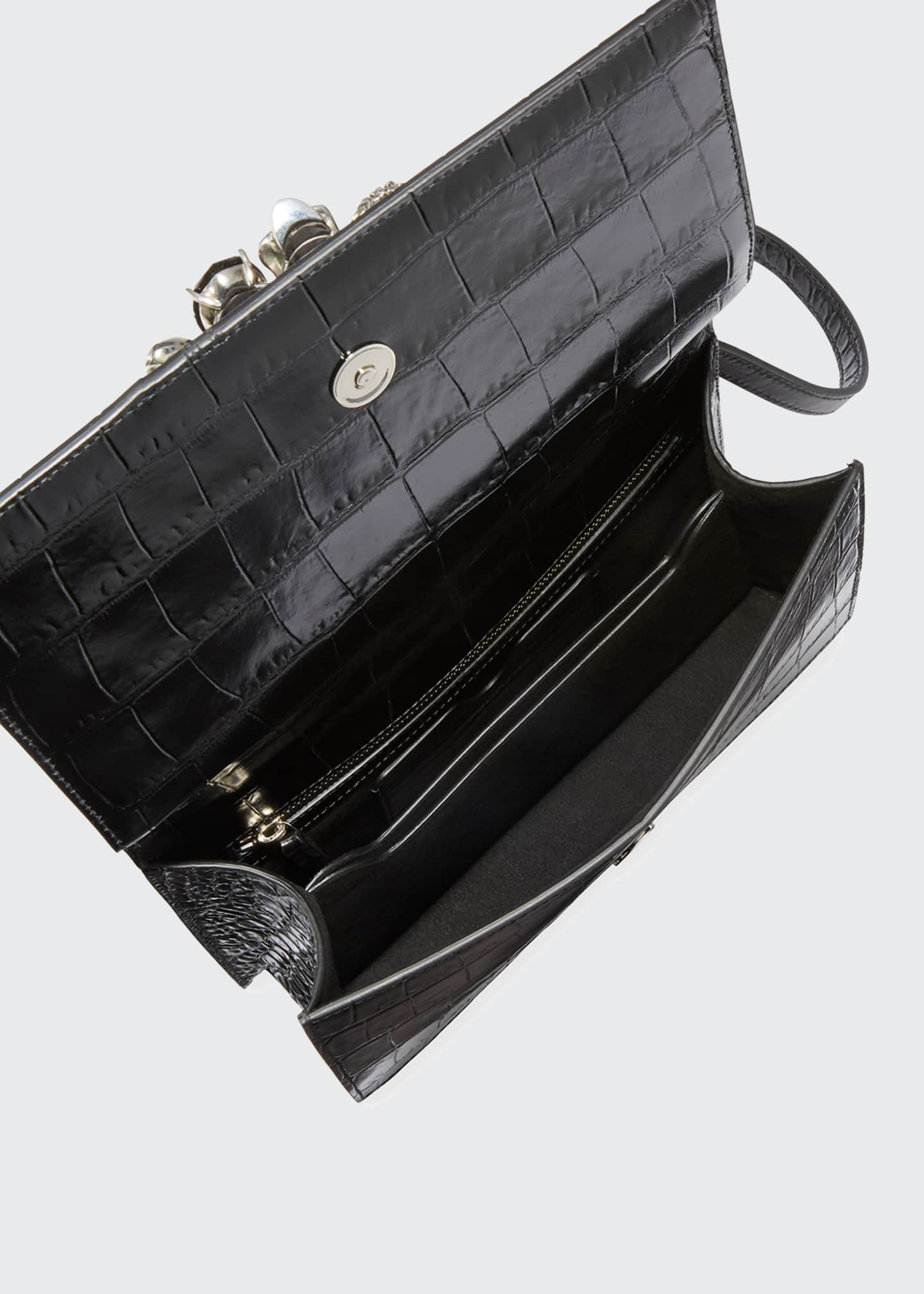 Image 2 of 3: Shiny Croc-Embossed Jeweled Shoulder Bag, Black