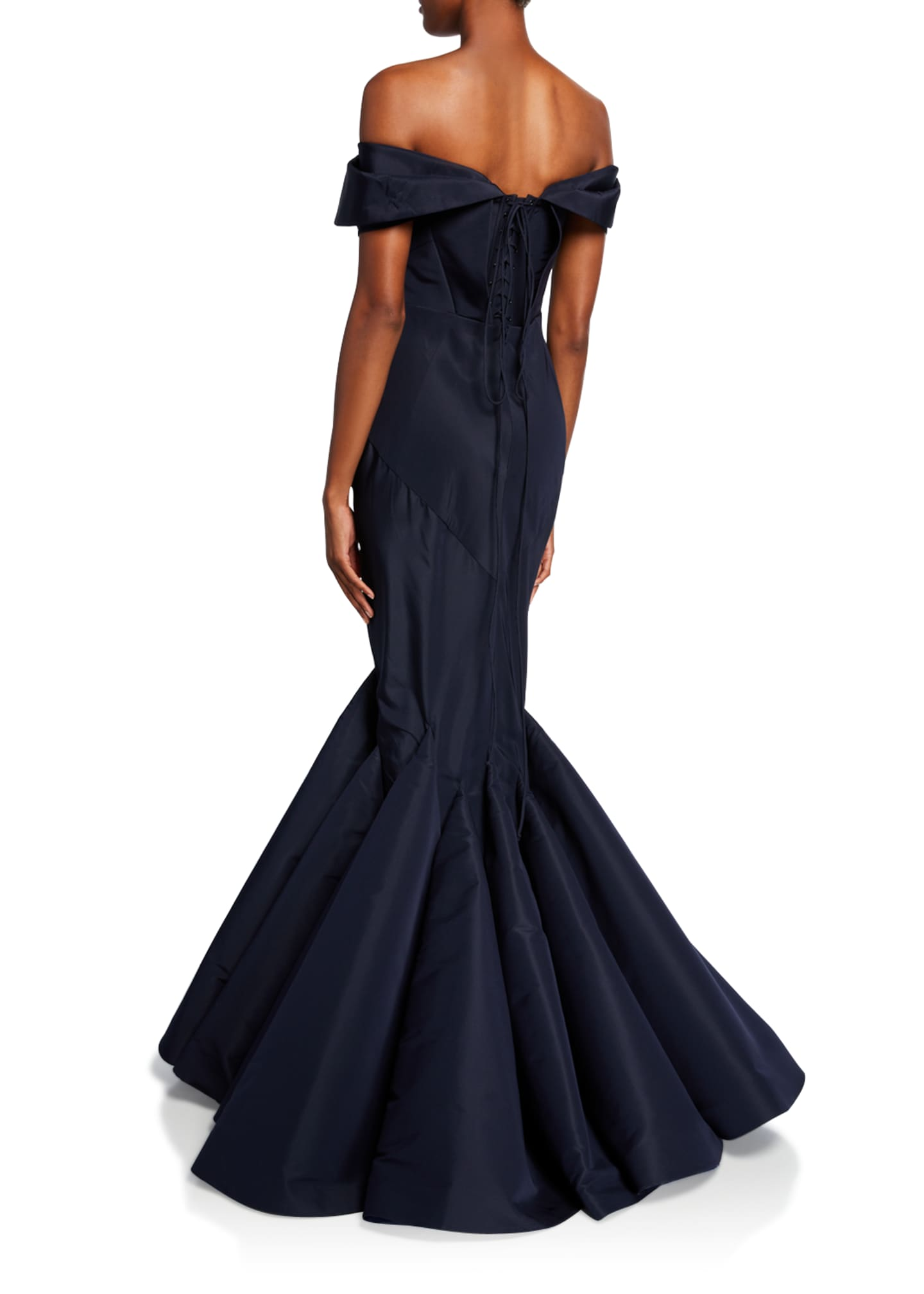 Image 2 of 2: Off-the-Shoulder Mermaid Taffeta Gown
