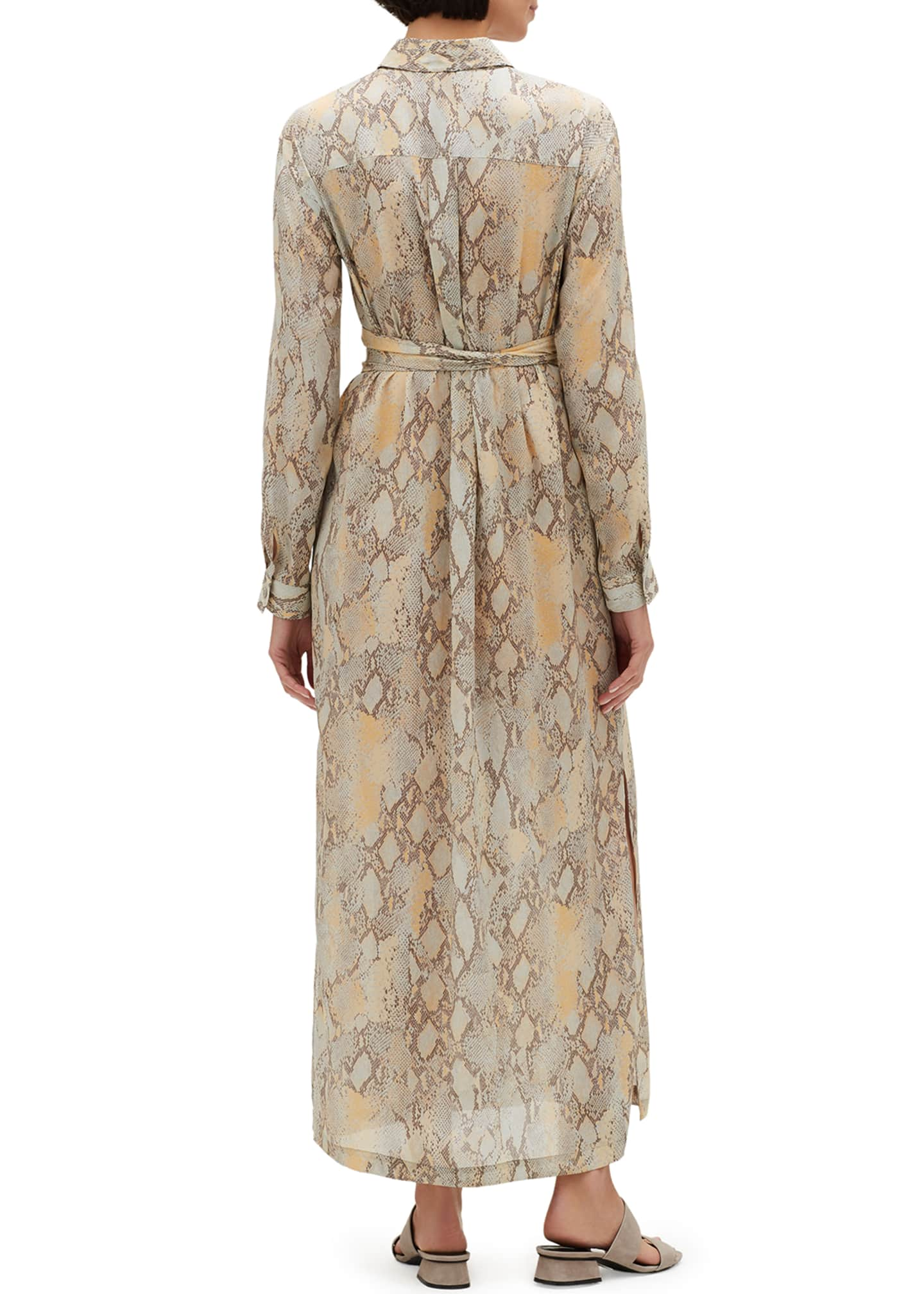 Image 2 of 3: Doha Sindewinder Snake-Print Long-Sleeve Belted Dress