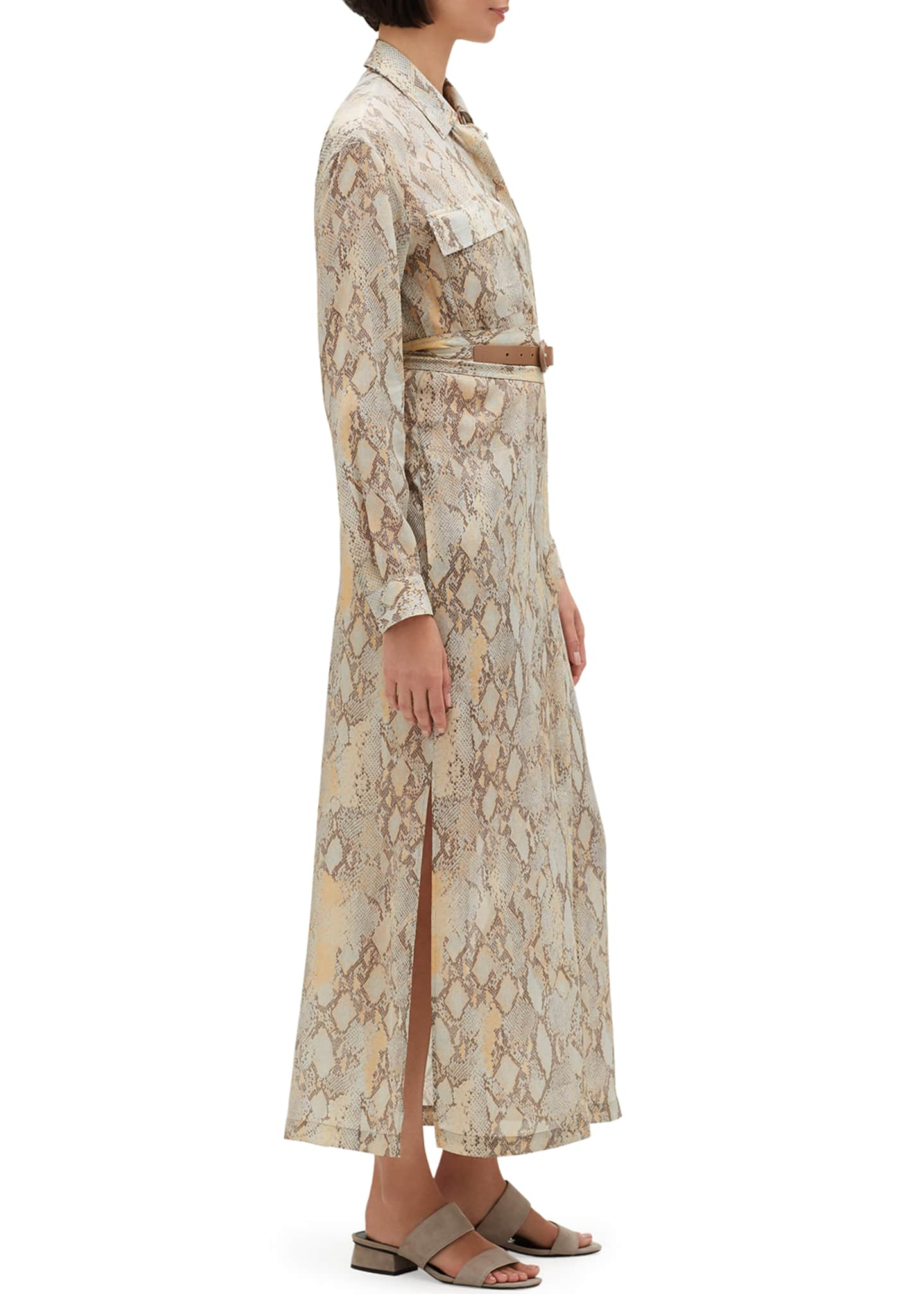 Image 3 of 3: Doha Sindewinder Snake-Print Long-Sleeve Belted Dress