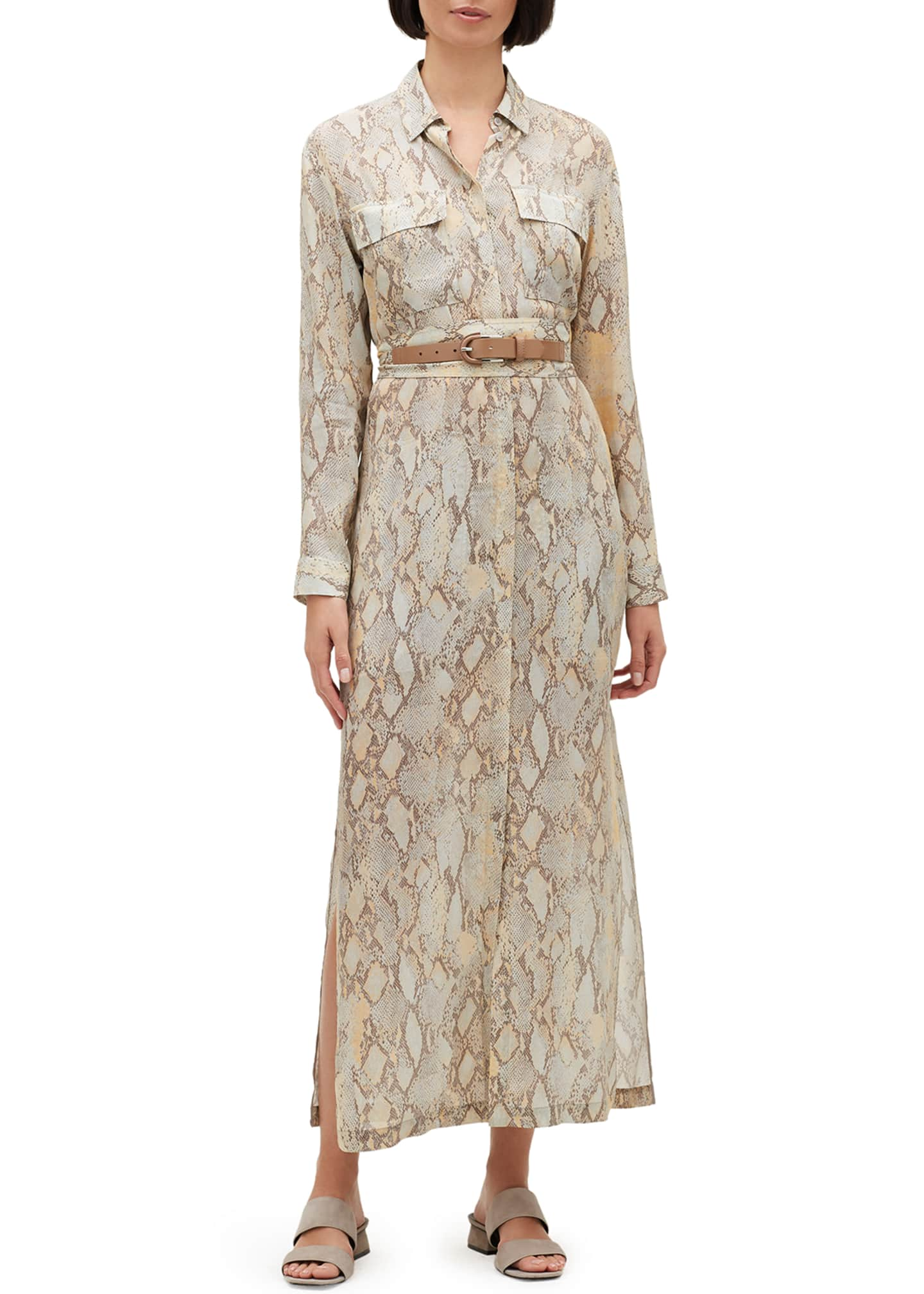 Image 1 of 3: Doha Sindewinder Snake-Print Long-Sleeve Belted Dress