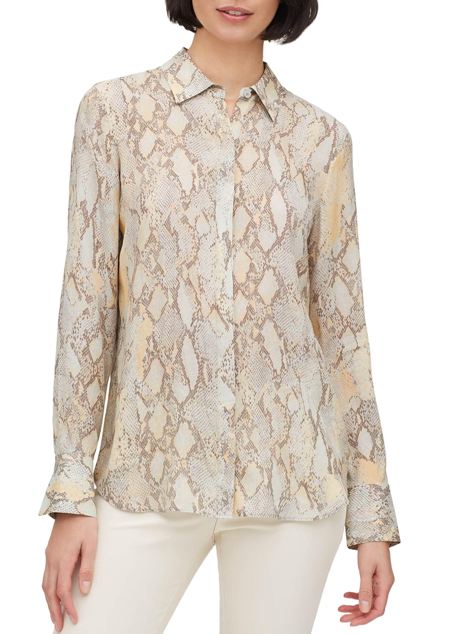Lafayette 148 New York Scottie Sidewinder Snake-Print Button-Down