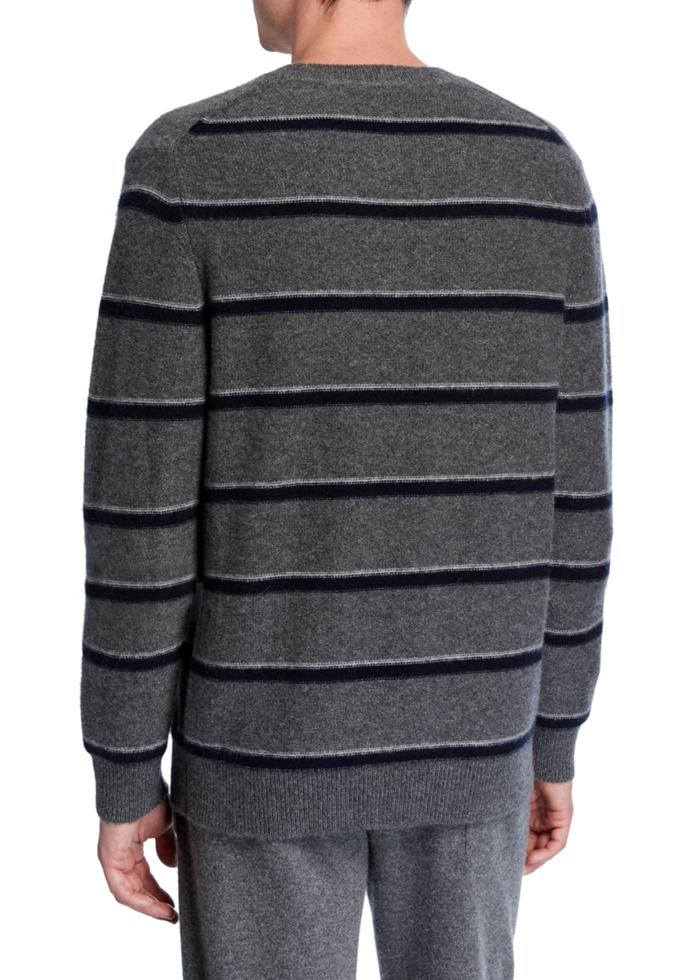 Image 2 of 2: Men's Striped Cashmere Crewneck Sweater