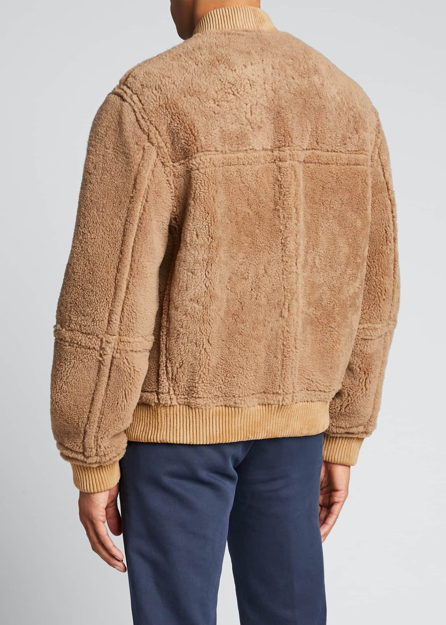 Image 2 of 5: Men's Reversible Shearling Bomber Jacket