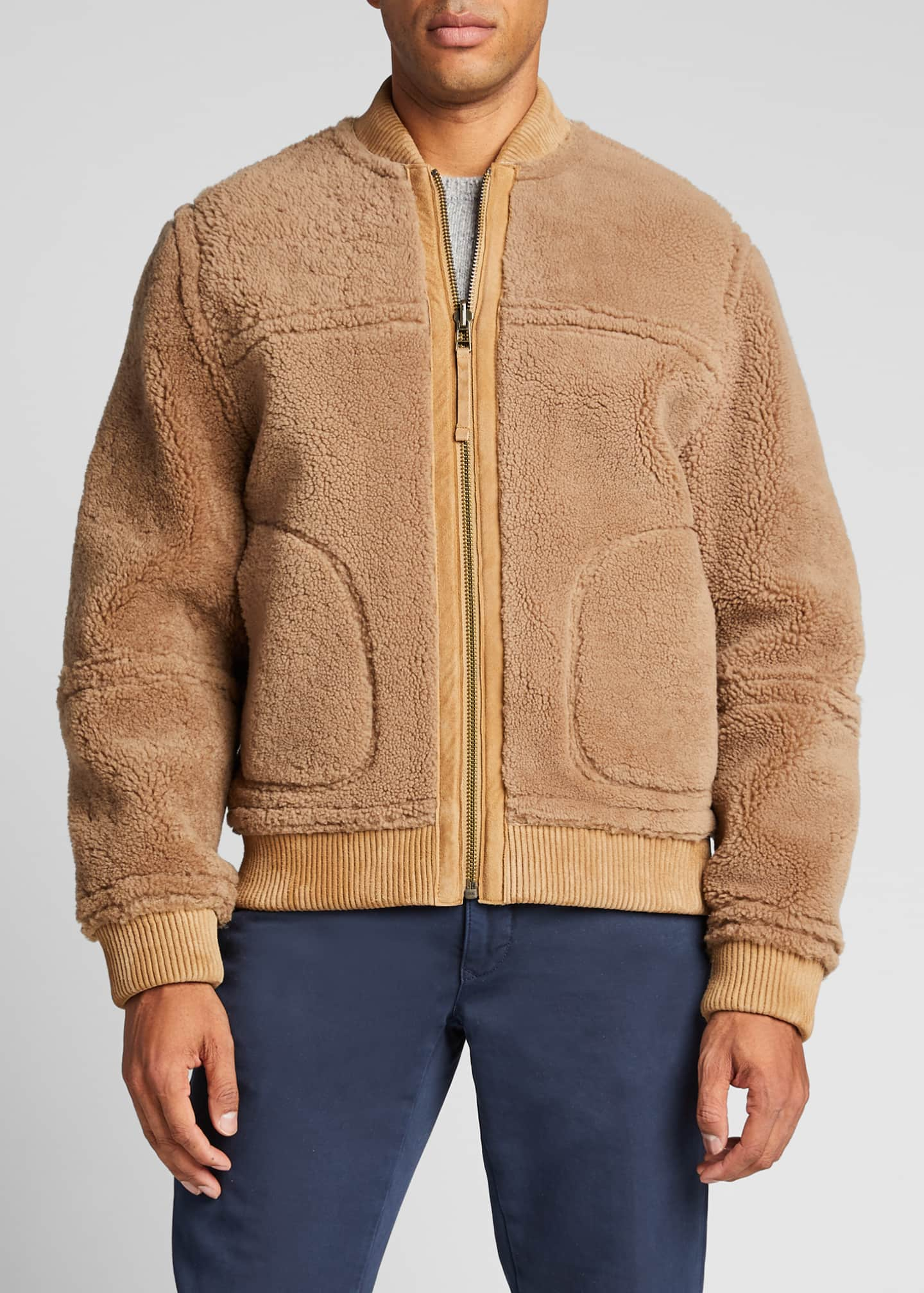 Image 3 of 5: Men's Reversible Shearling Bomber Jacket