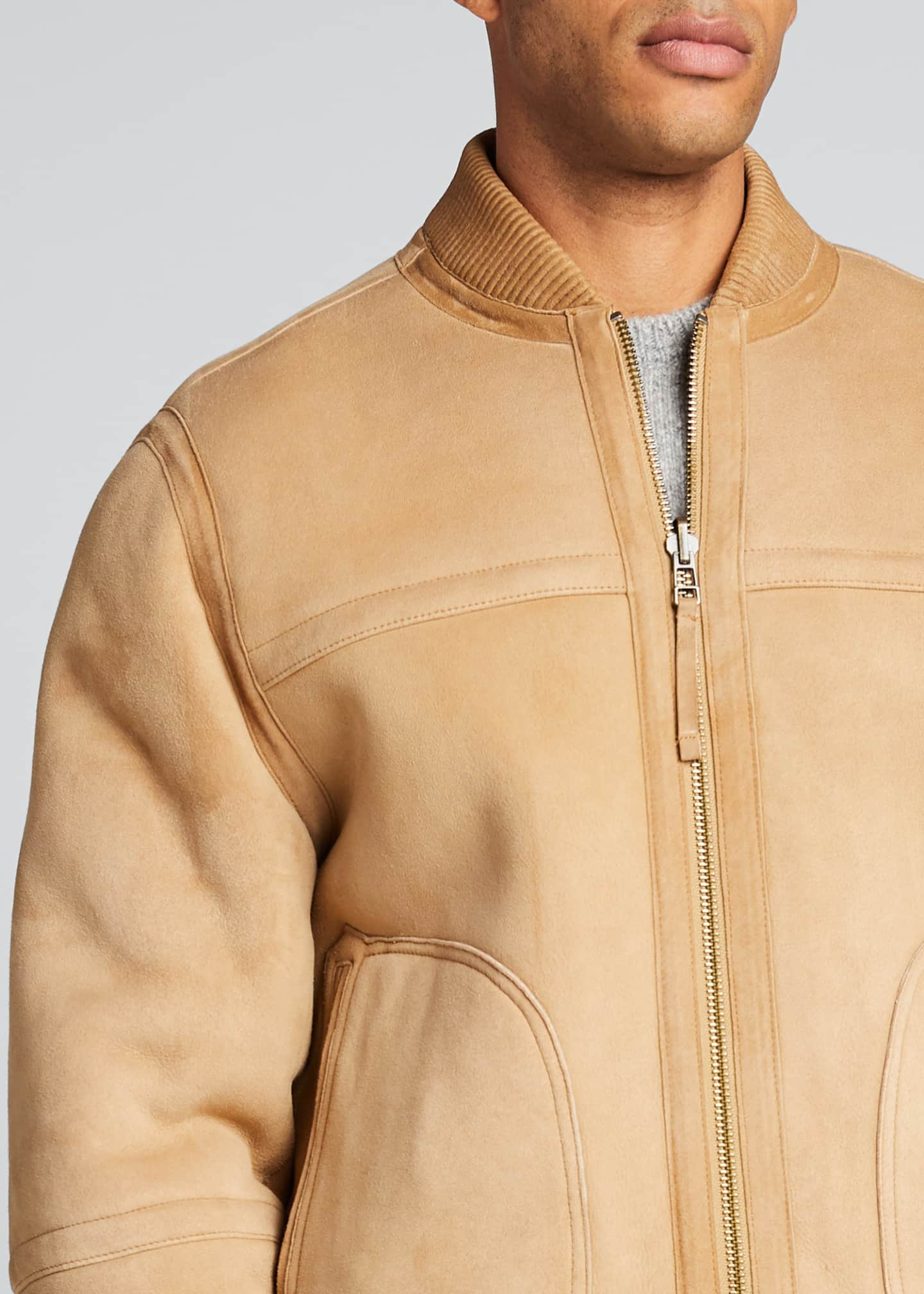 Image 4 of 5: Men's Reversible Shearling Bomber Jacket