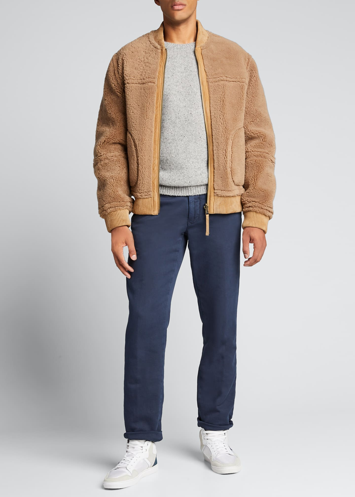 Image 1 of 5: Men's Reversible Shearling Bomber Jacket