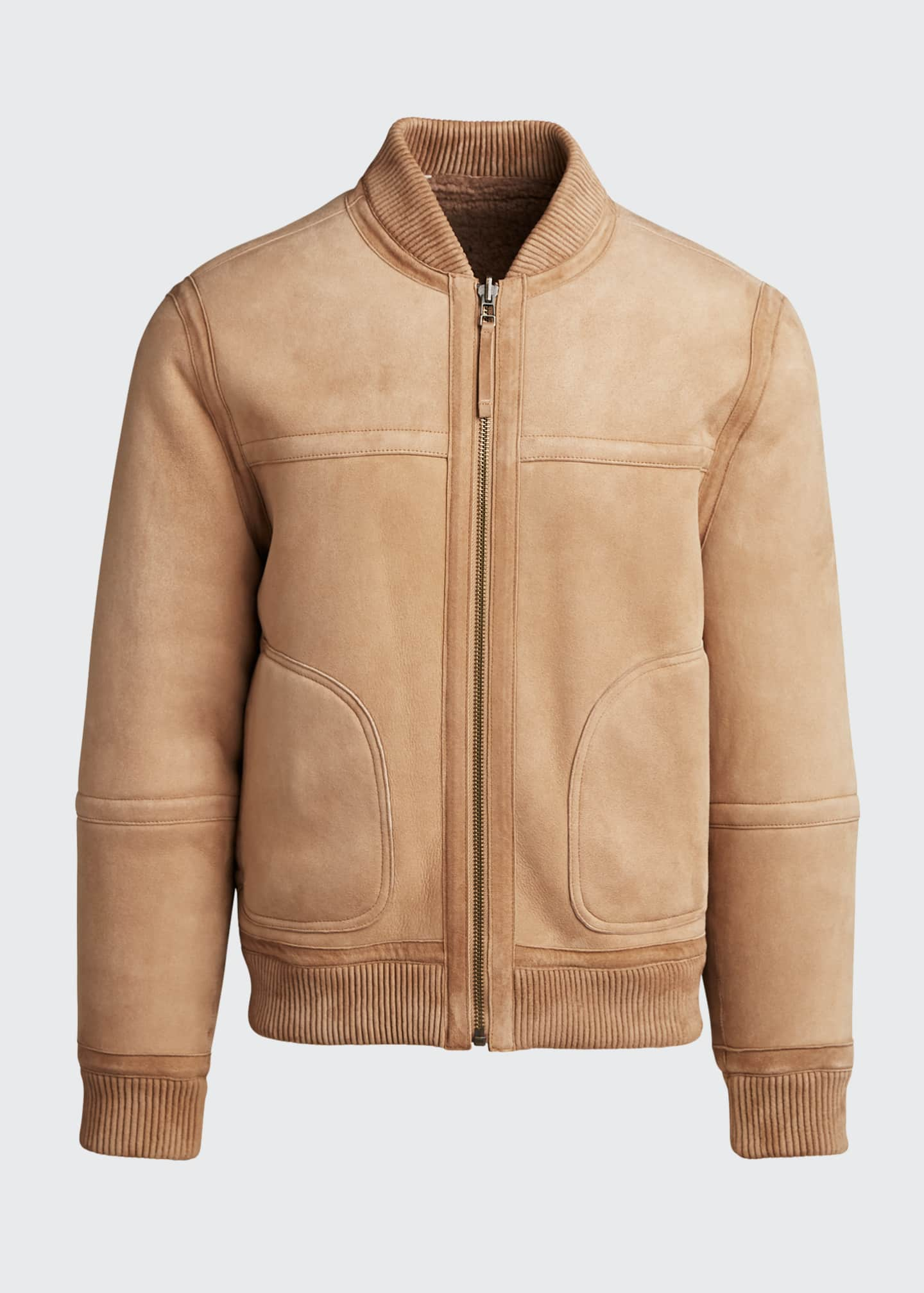Image 5 of 5: Men's Reversible Shearling Bomber Jacket