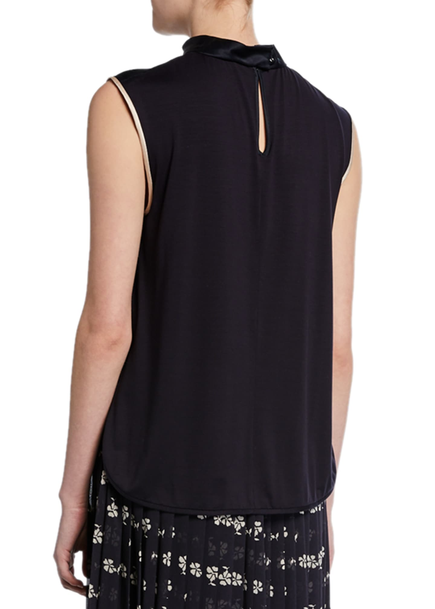 Image 2 of 2: Orel Sleeveless Two-Tone Silk Blouse