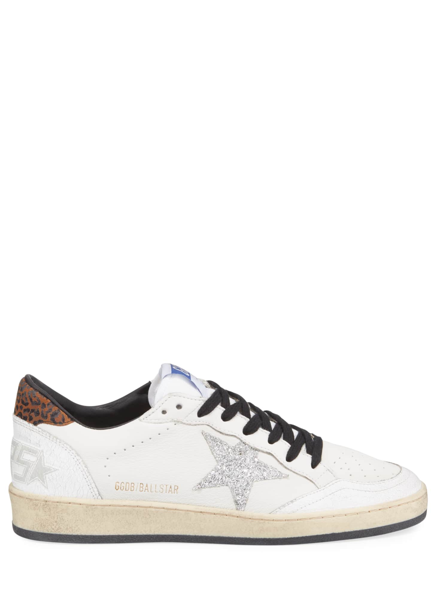 Image 2 of 4: Ball Star Lace-Up Distressed Leather Sneakers