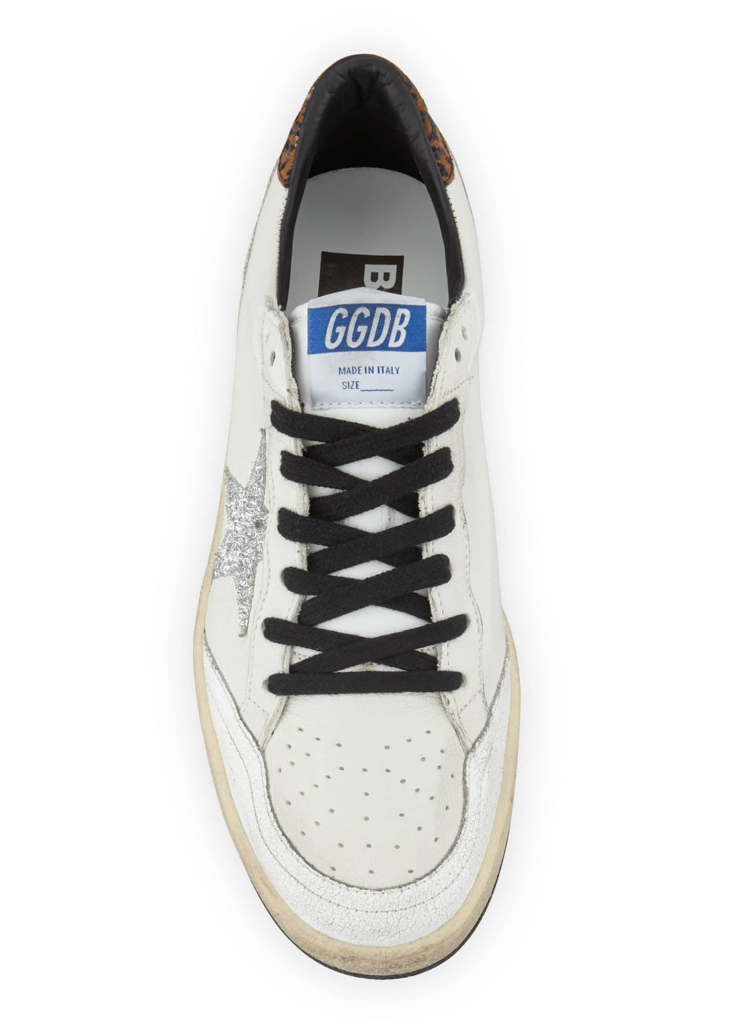 Image 3 of 4: Ball Star Lace-Up Distressed Leather Sneakers