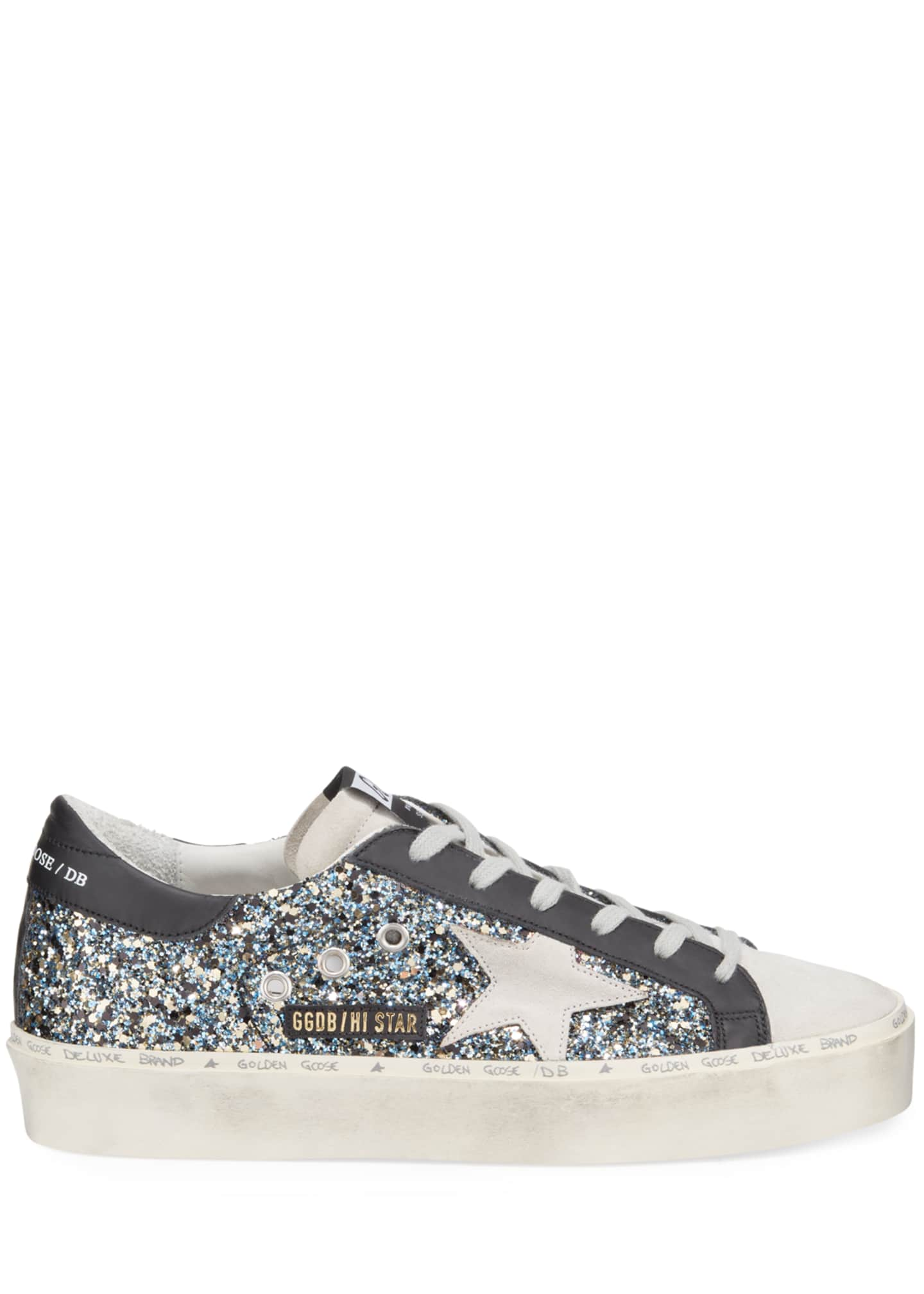 Image 2 of 3: Hi Star Glittered Leather Platform Sneakers