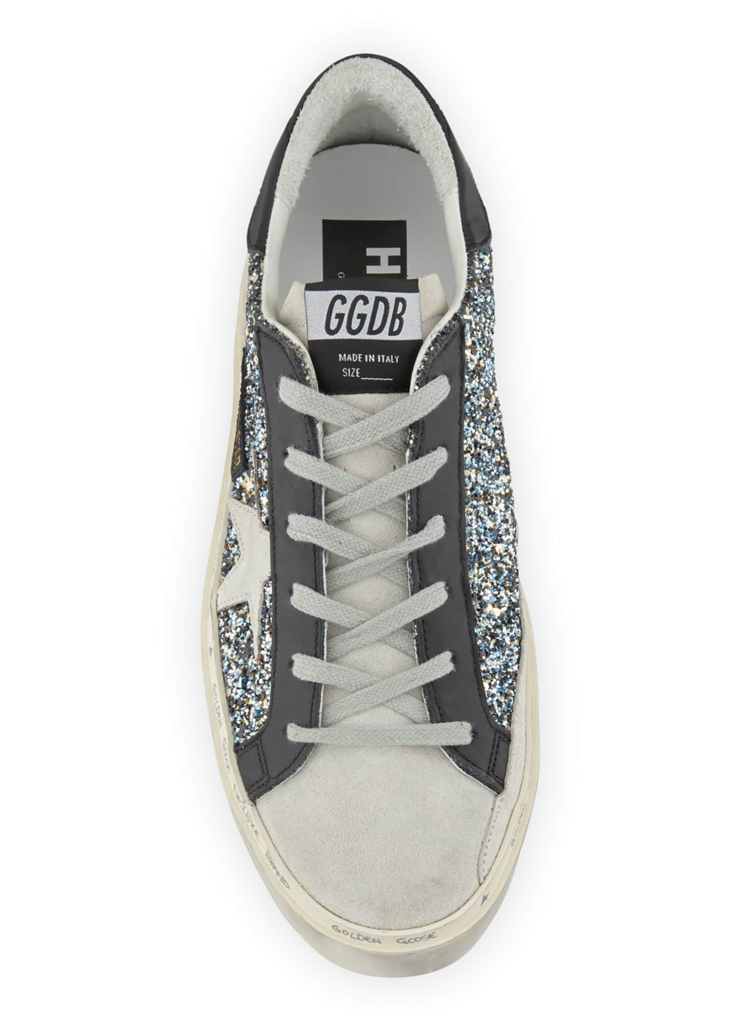 Image 3 of 3: Hi Star Glittered Leather Platform Sneakers