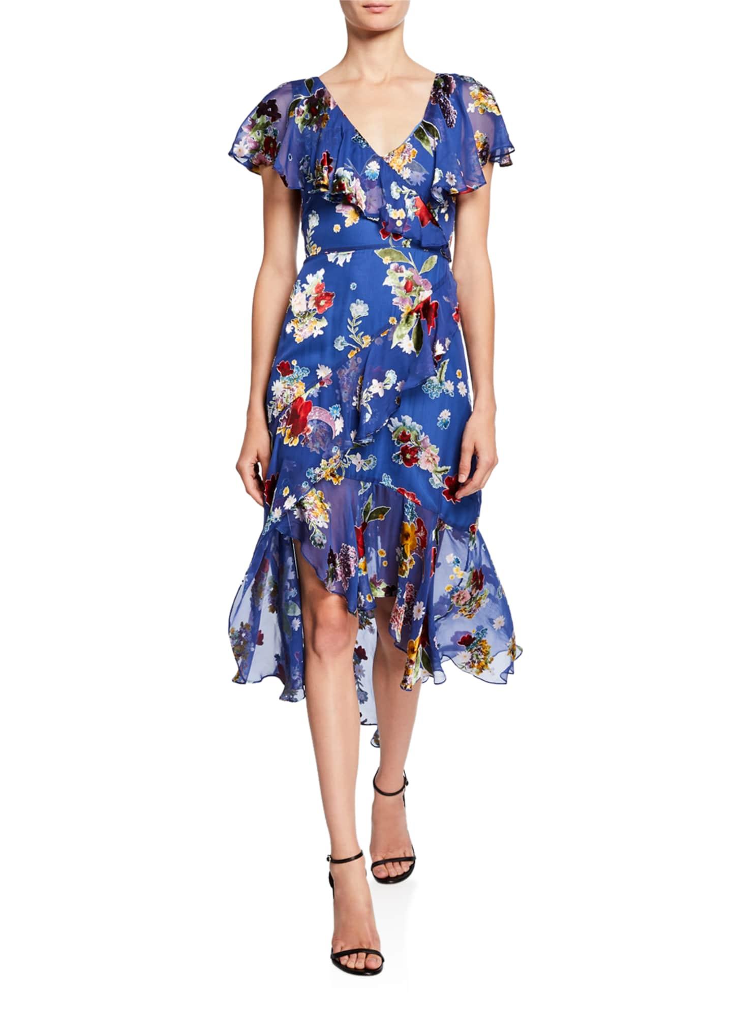 Alice + Olivia Electra Asymmetric Ruffle High-Low Dress