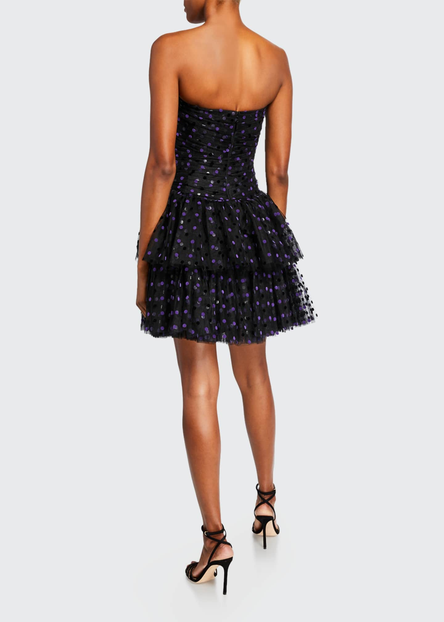 Image 2 of 2: Strapless Dotted Tulle-Tiered Cocktail Dress