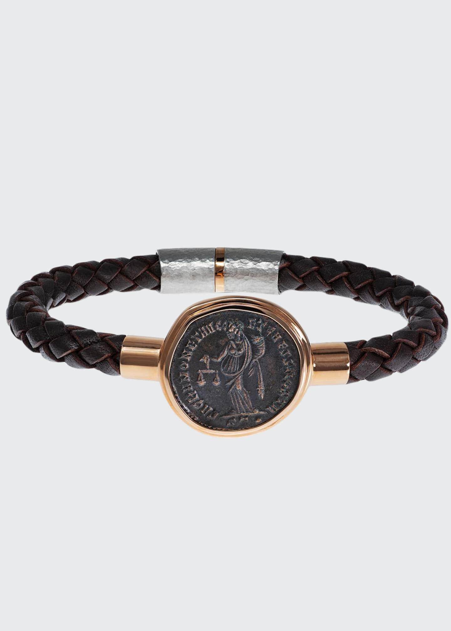 Jorge Adeler Men's Ancient Moneta Coin Braided Leather
