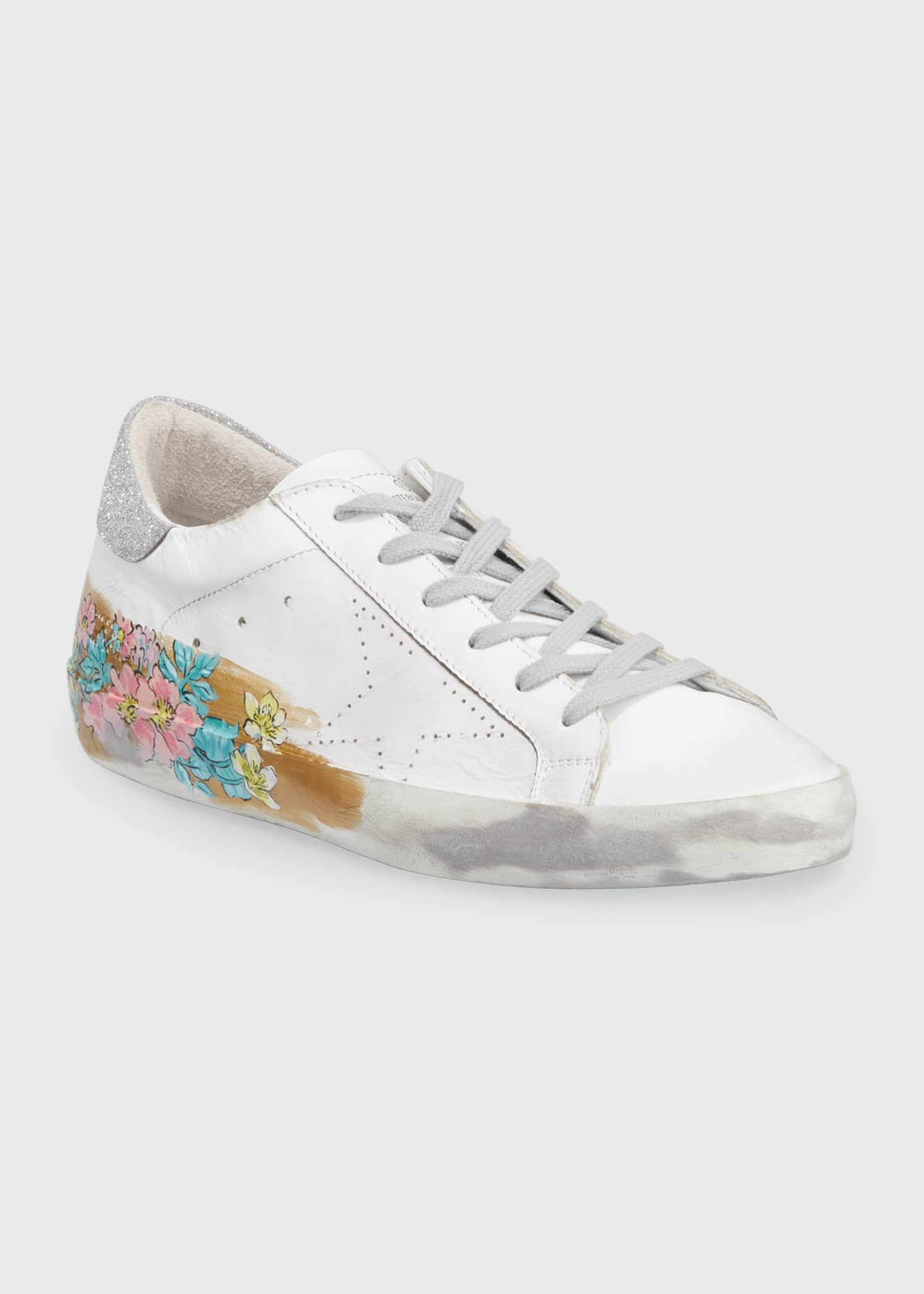 Image 2 of 3: May Sparkle Floral Painted Low-Top Sneakers