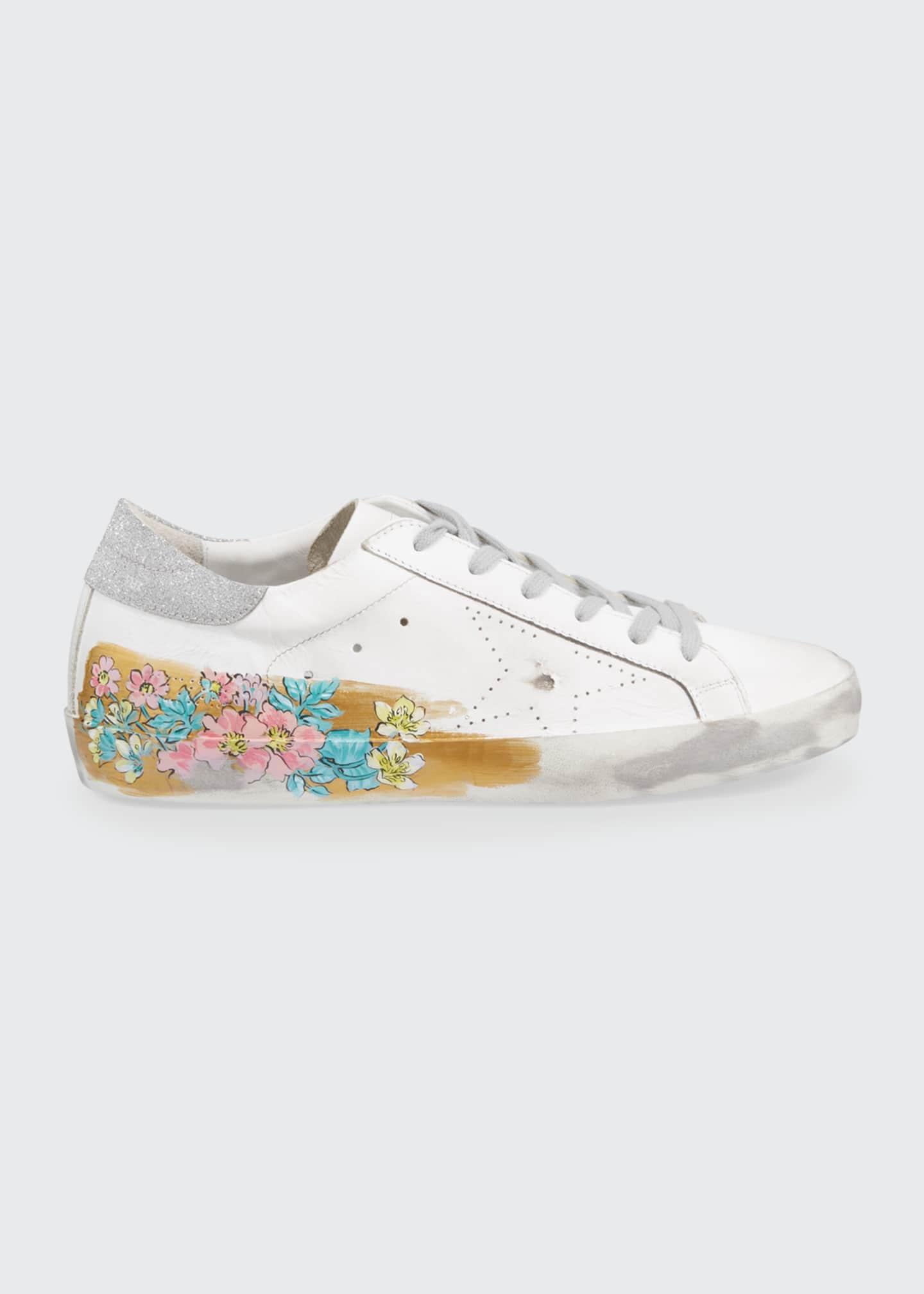 Image 1 of 3: May Sparkle Floral Painted Low-Top Sneakers