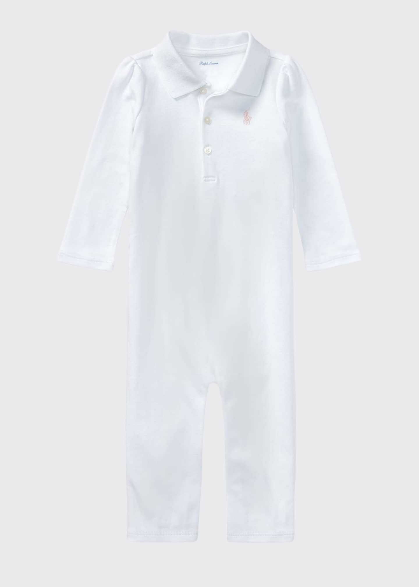 Image 1 of 2: Interlock Polo Coverall, Size 3-12 Months