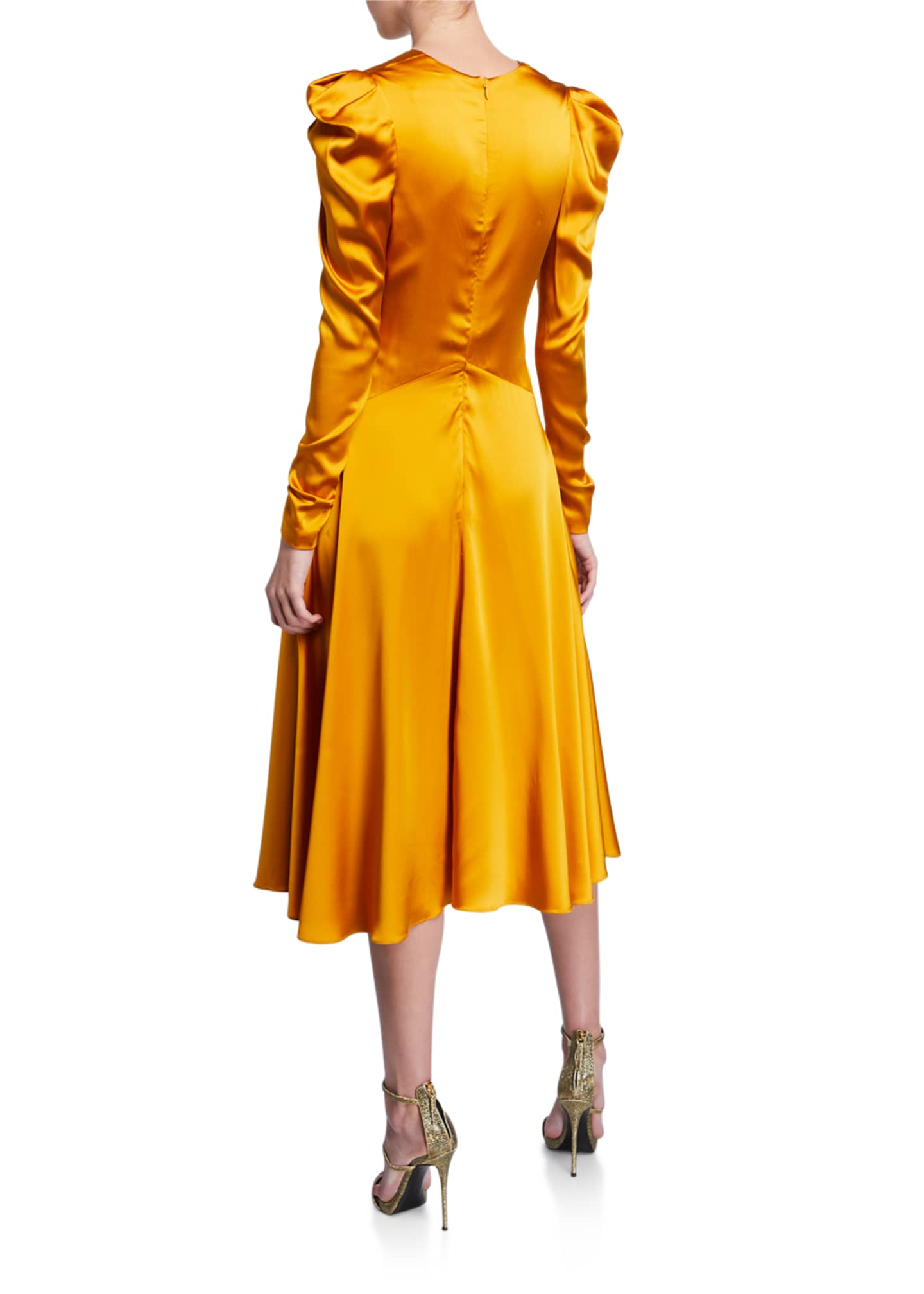 Image 2 of 2: Ruched-Front V-Neck Long-Sleeve Sateen Dress