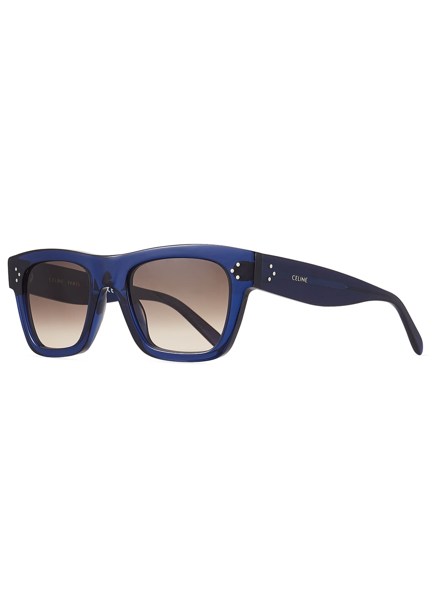 Celine Men's Rectangular Acetate Sunglasses, Blue
