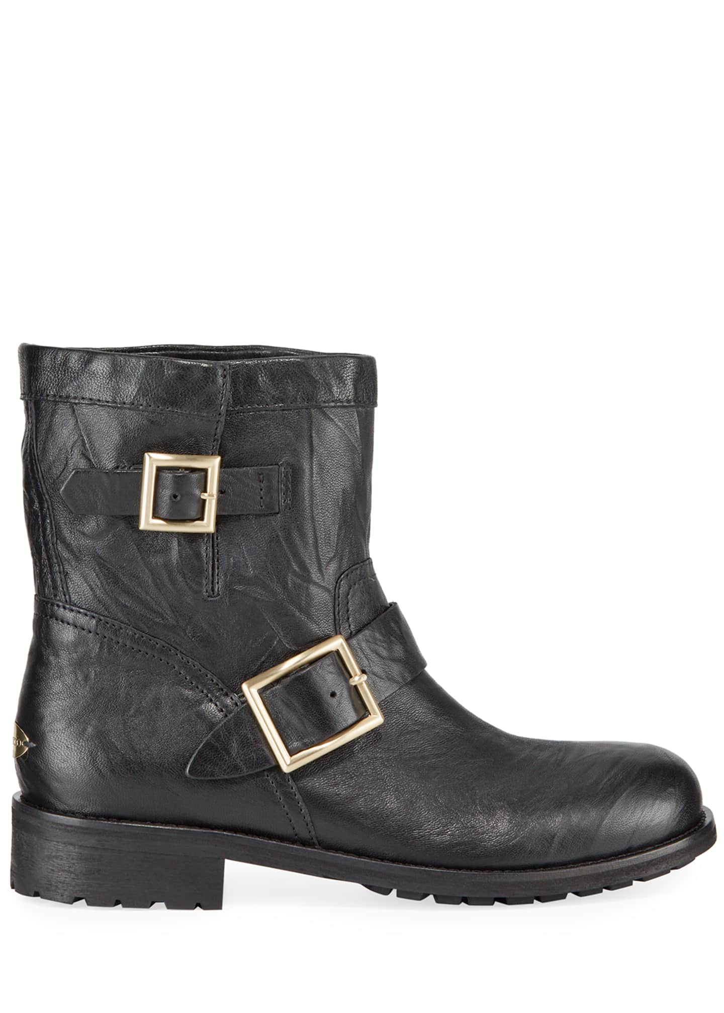 Image 2 of 3: Youth Leather Biker Boots