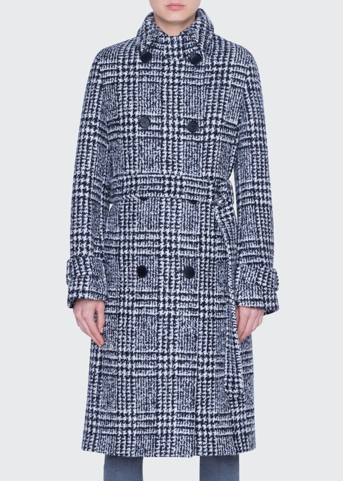 Image 1 of 2: Lacquered Wool Check Trench Coat