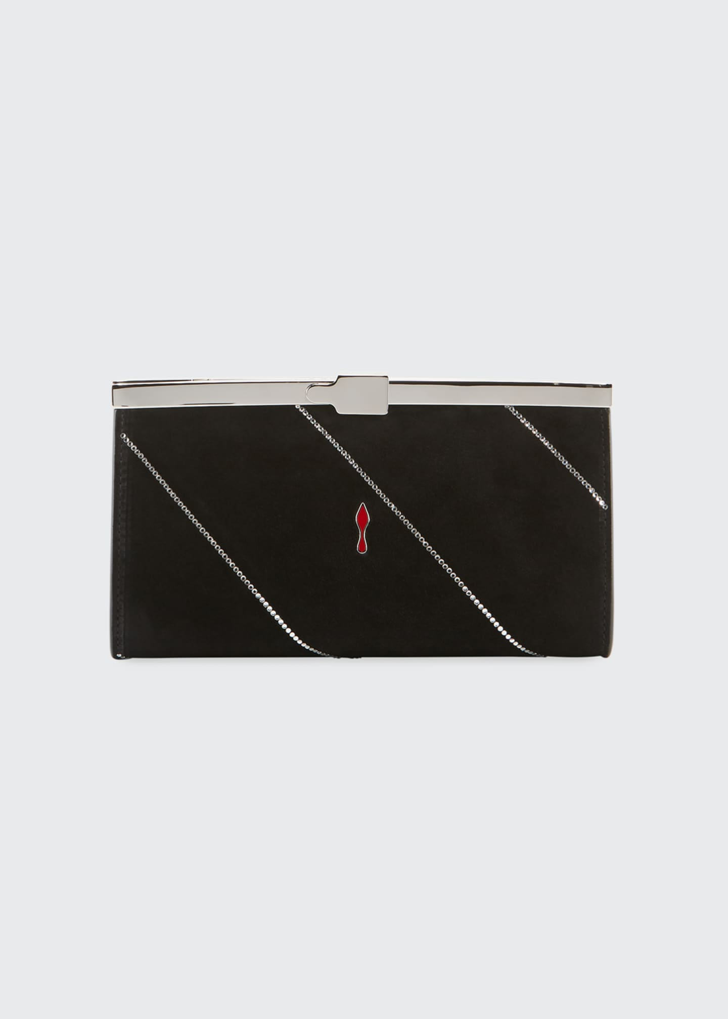 Image 2 of 3: Palmette Small Suede Clutch Bag